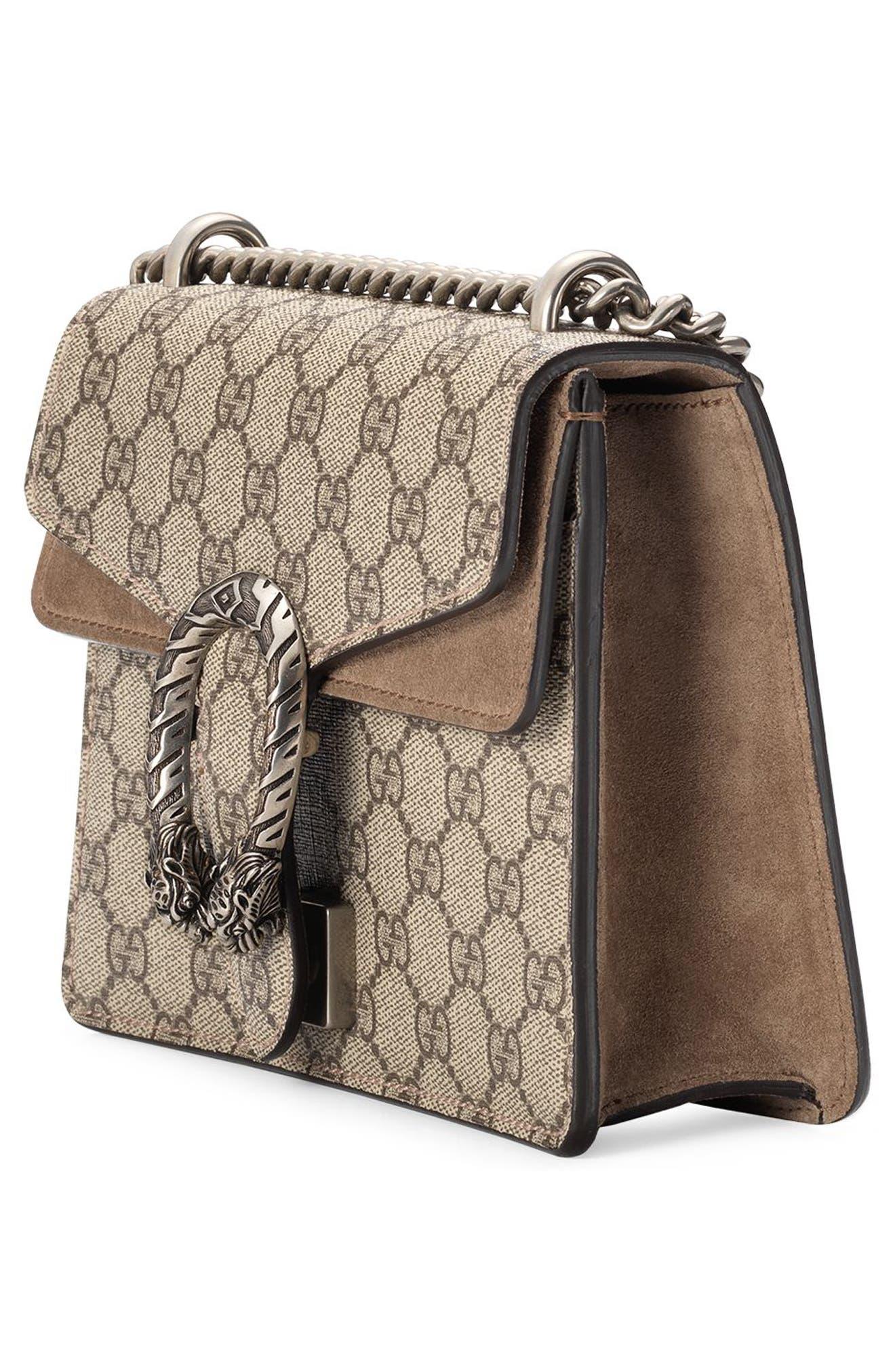 GUCCI, Mini Dionysus GG Supreme Shoulder Bag, Alternate thumbnail 5, color, BEIGE EBONY/ TAUPE