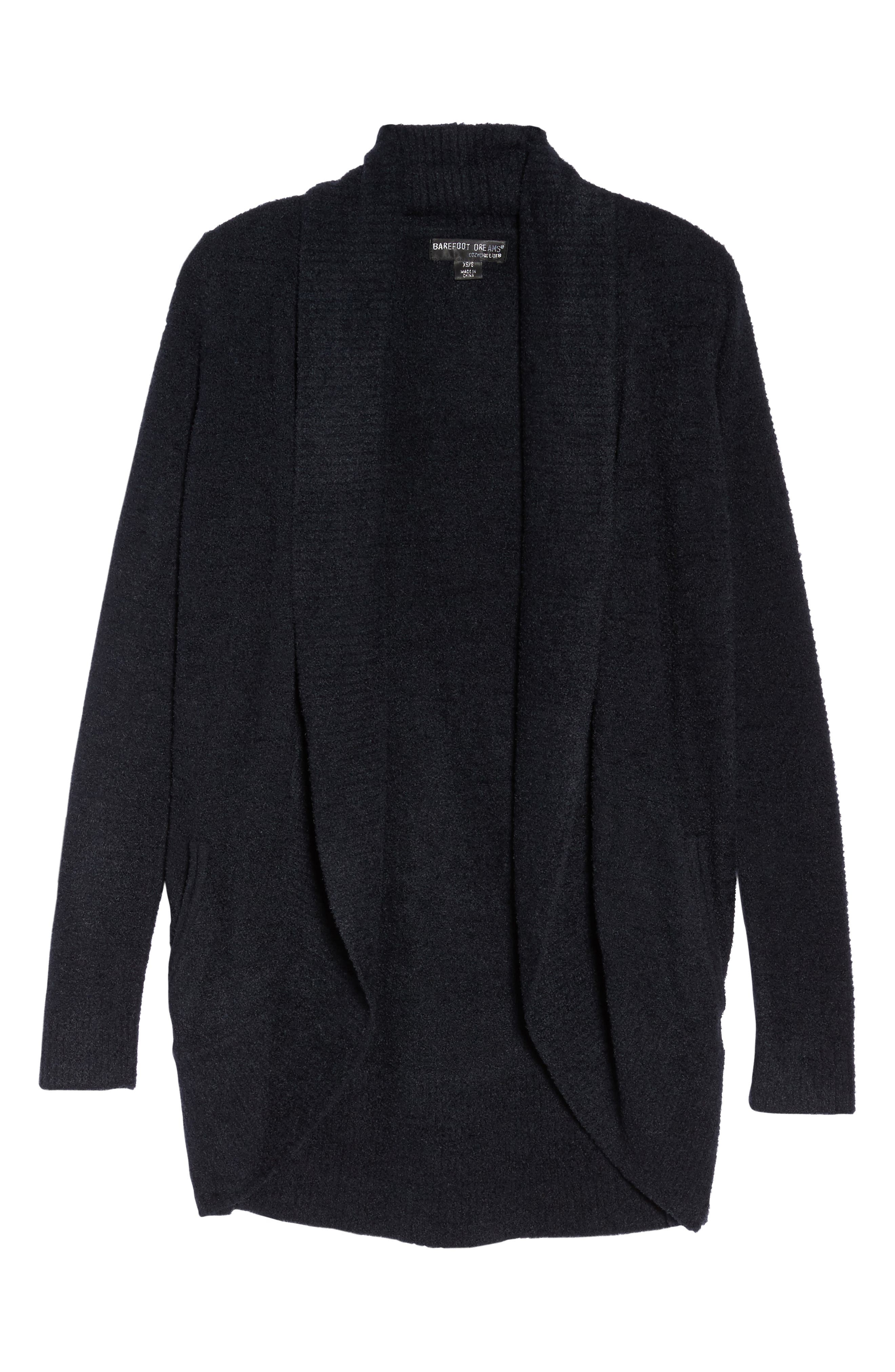 BAREFOOT DREAMS<SUP>®</SUP>, CozyChic Lite<sup>®</sup> Circle Cardigan, Alternate thumbnail 6, color, BLACK