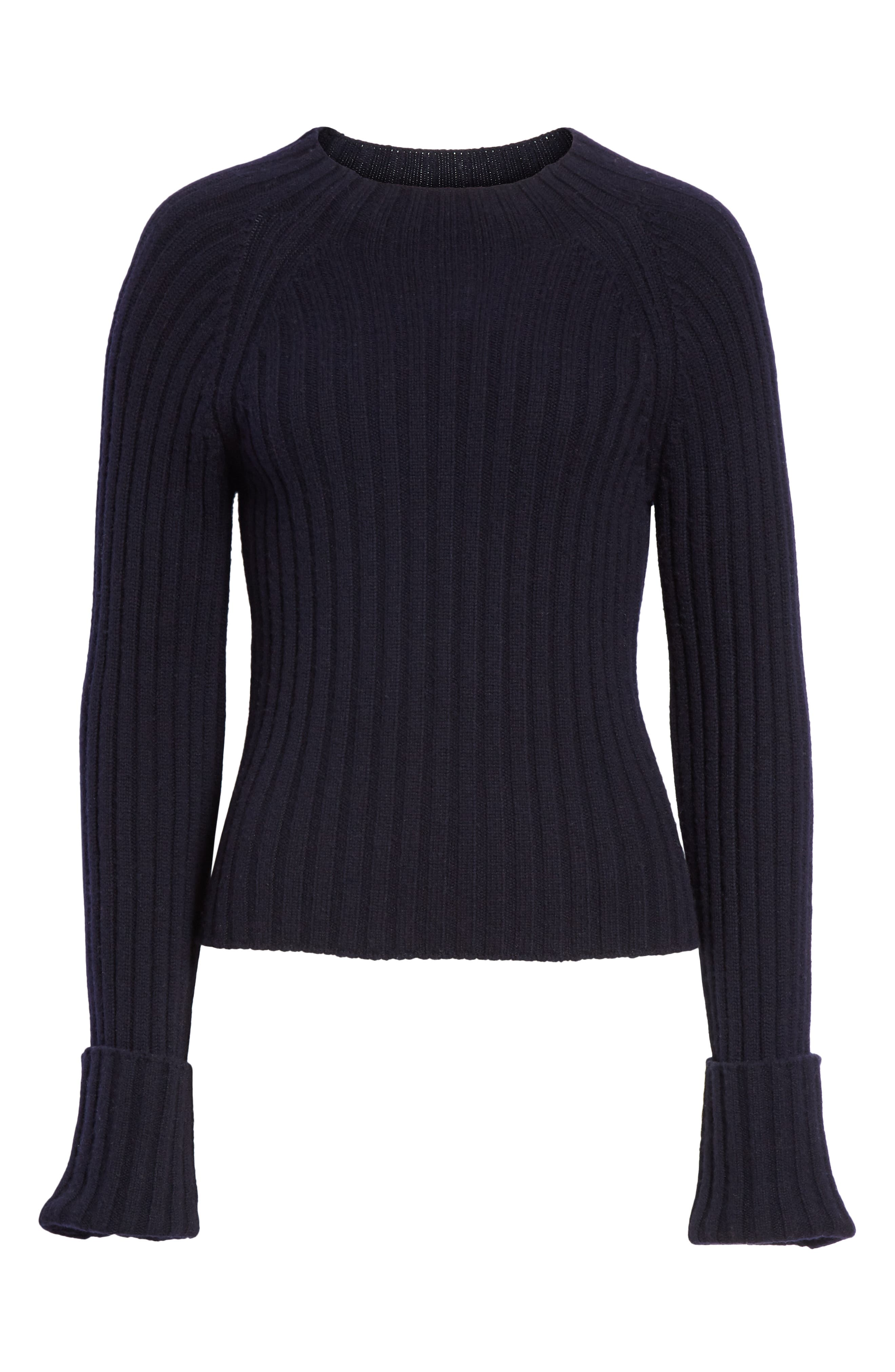 VINCE, Button Cuff Wool & Cashmere Sweater, Alternate thumbnail 6, color, 403