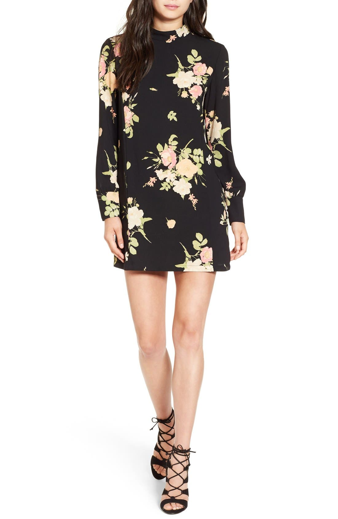 LEITH, Floral Print Mock Neck Shift Dress, Main thumbnail 1, color, 001