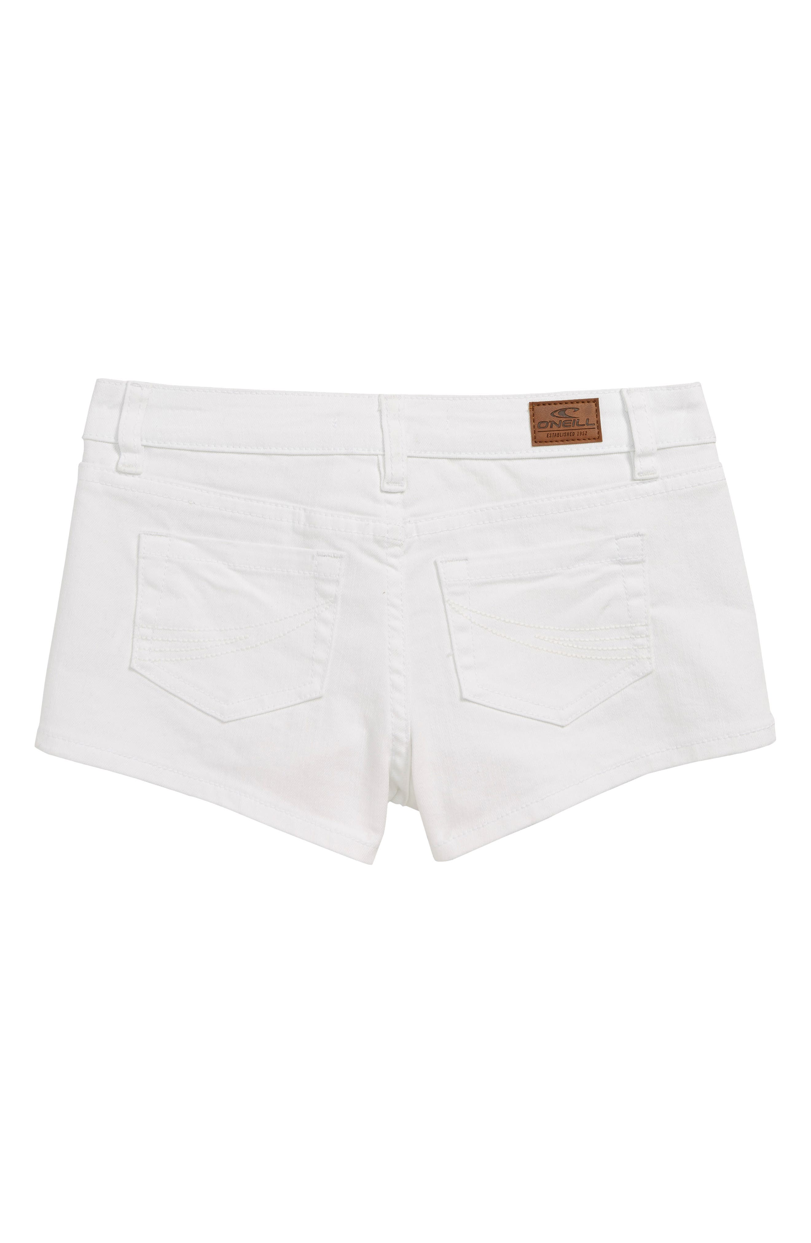 O'NEILL, Waidly Denim Shorts, Alternate thumbnail 2, color, WHITE