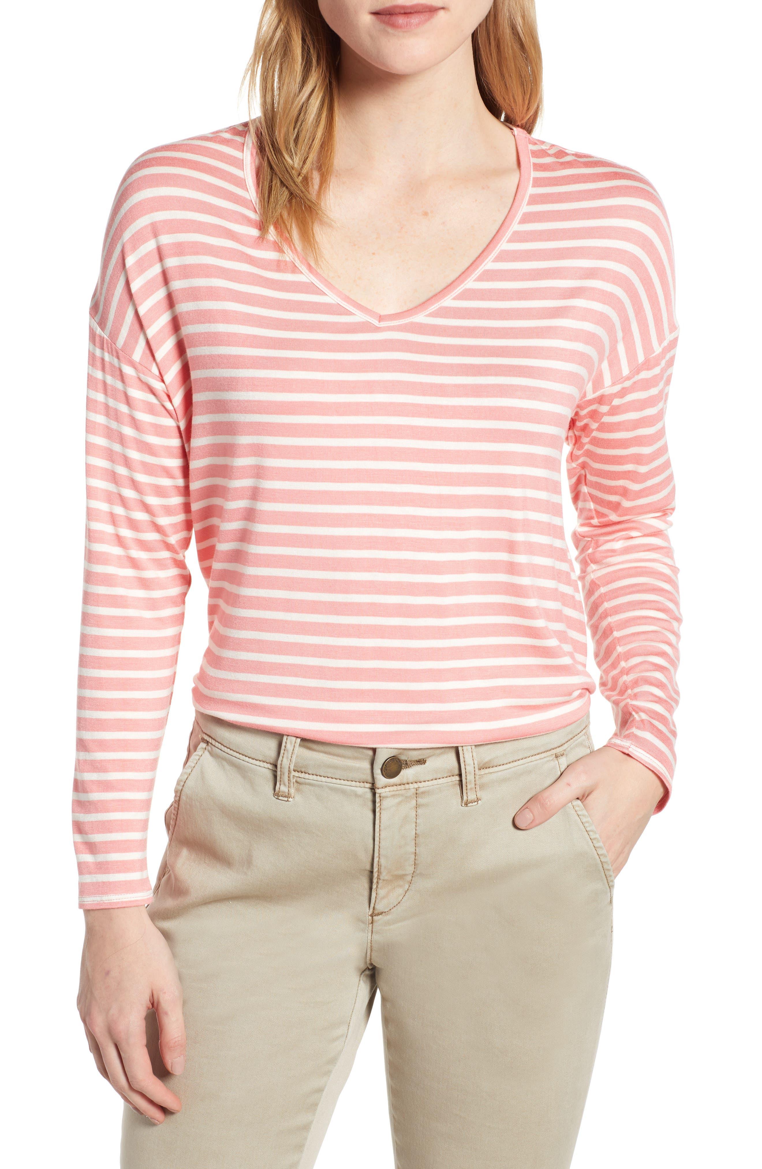 CASLON<SUP>®</SUP> Stripe V-Neck Tee, Main, color, CORAL- WHITE STRIPE