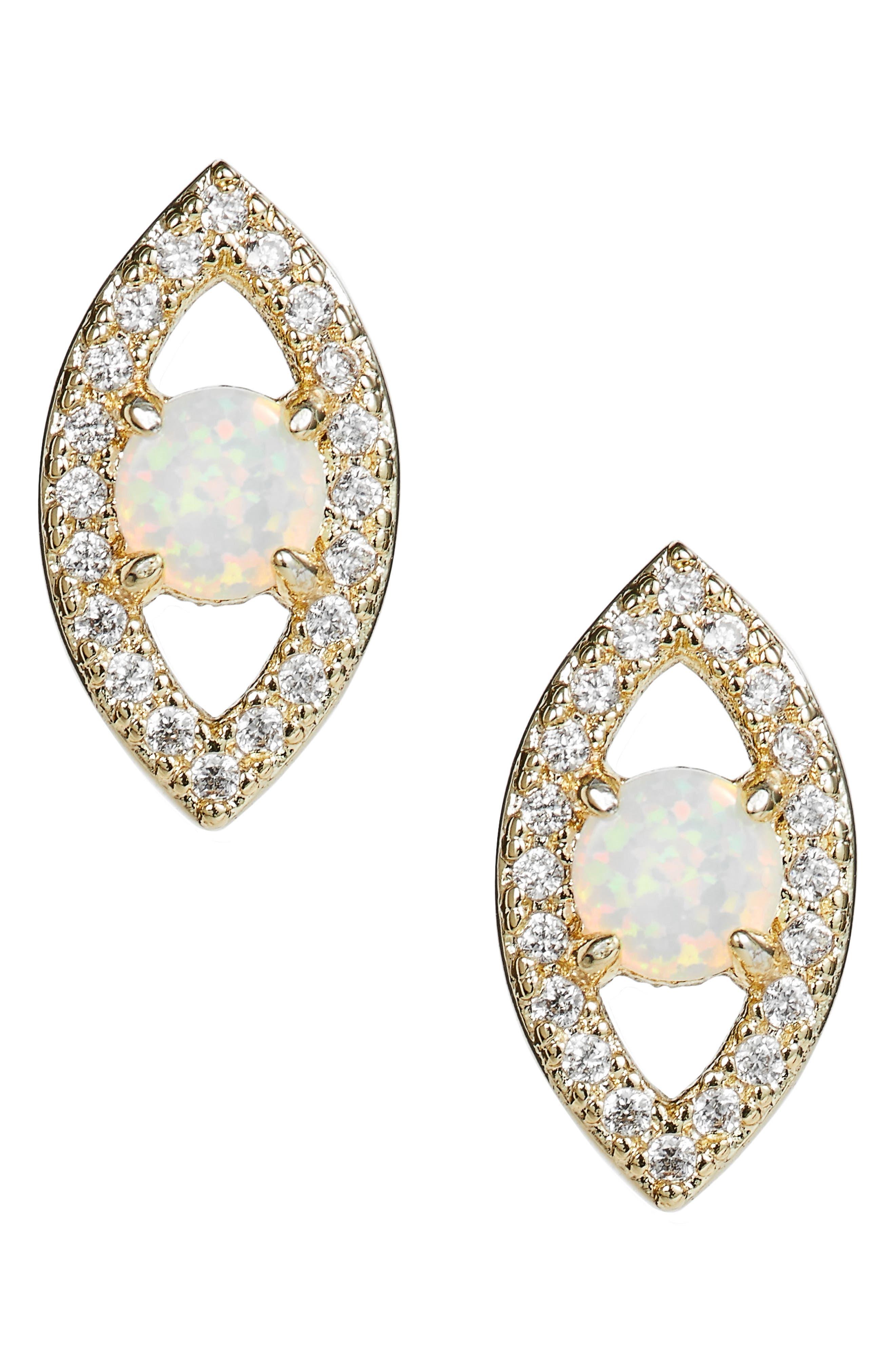 MELINDA MARIA Evil Eye Stud Earrings, Main, color, 710