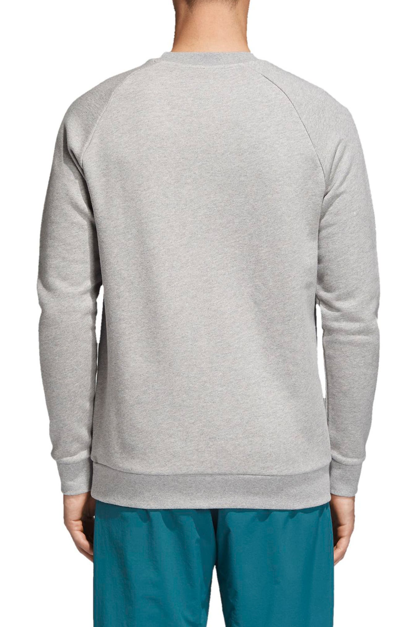 ADIDAS ORIGINALS, adidas Trefoil Crewneck Sweatshirt, Alternate thumbnail 2, color, MEDIUM GREY HEATHER