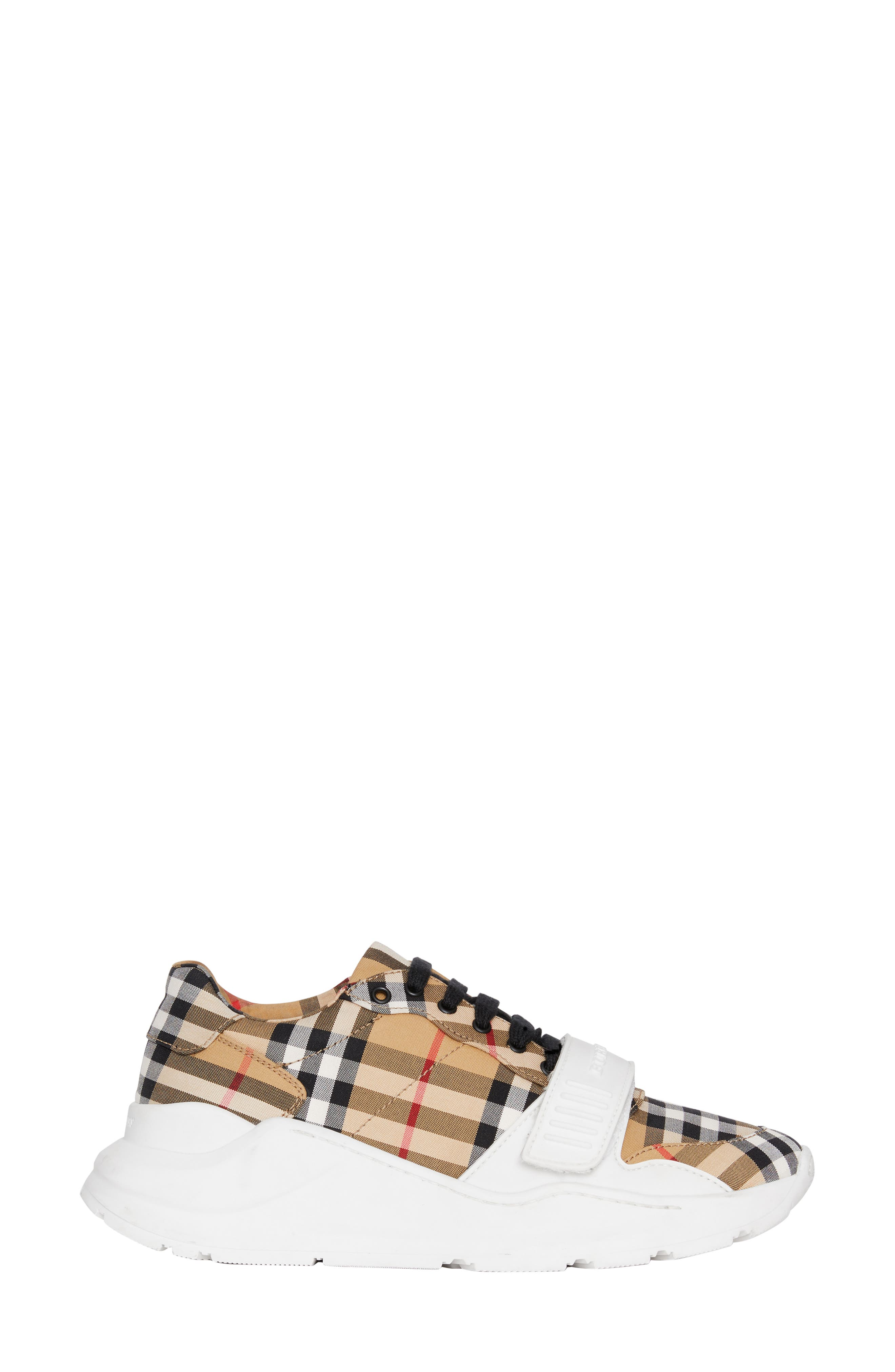 BURBERRY, Regis Check Lace-Up Sneaker, Alternate thumbnail 3, color, BEIGE PLAID