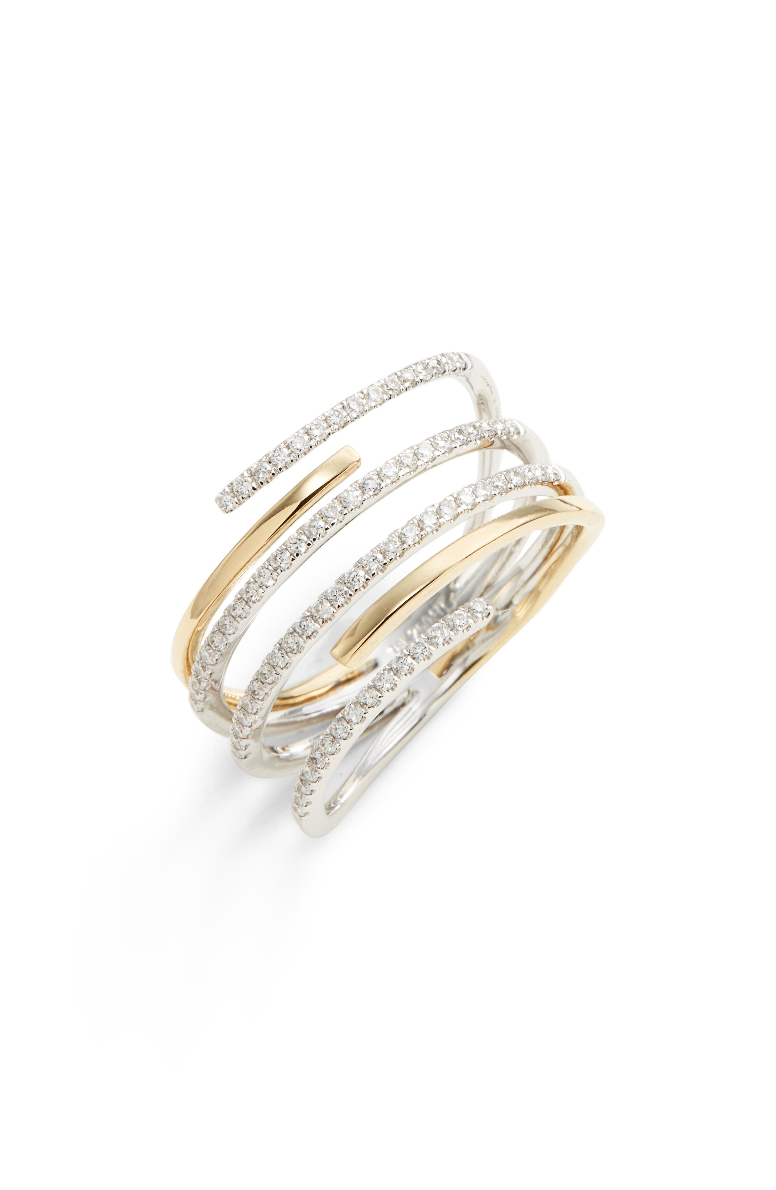 BONY LEVY, Openwork Diamond Ring, Main thumbnail 1, color, YELLOW GOLD/ WHITE GOLD