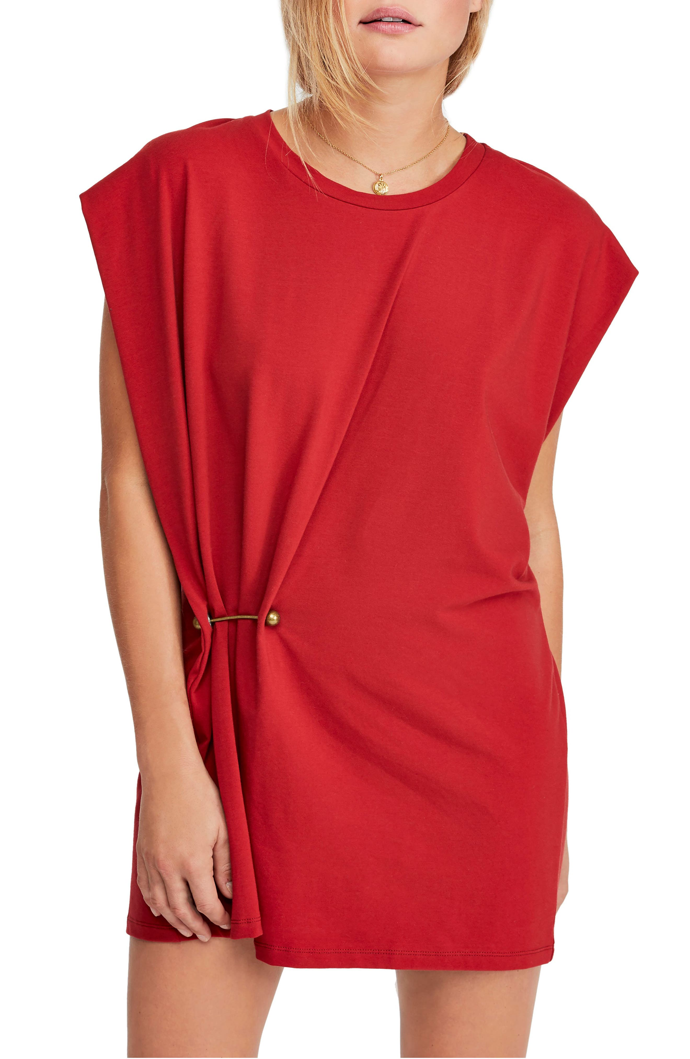 FREE PEOPLE, Bianca Shift Dress, Main thumbnail 1, color, RED