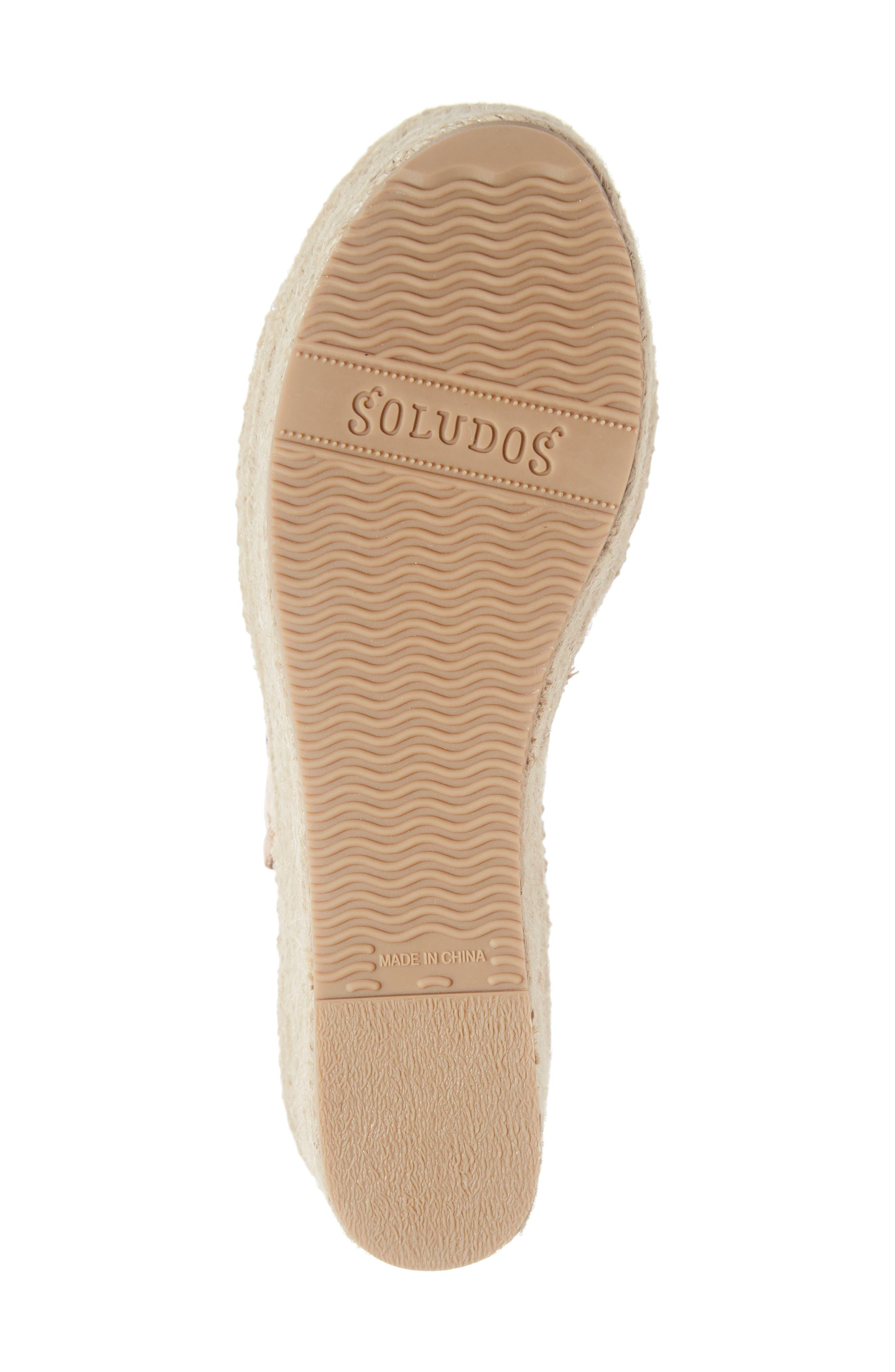 SOLUDOS, Minorca Platform Wedge Sandal, Alternate thumbnail 6, color, NUDE LEATHER
