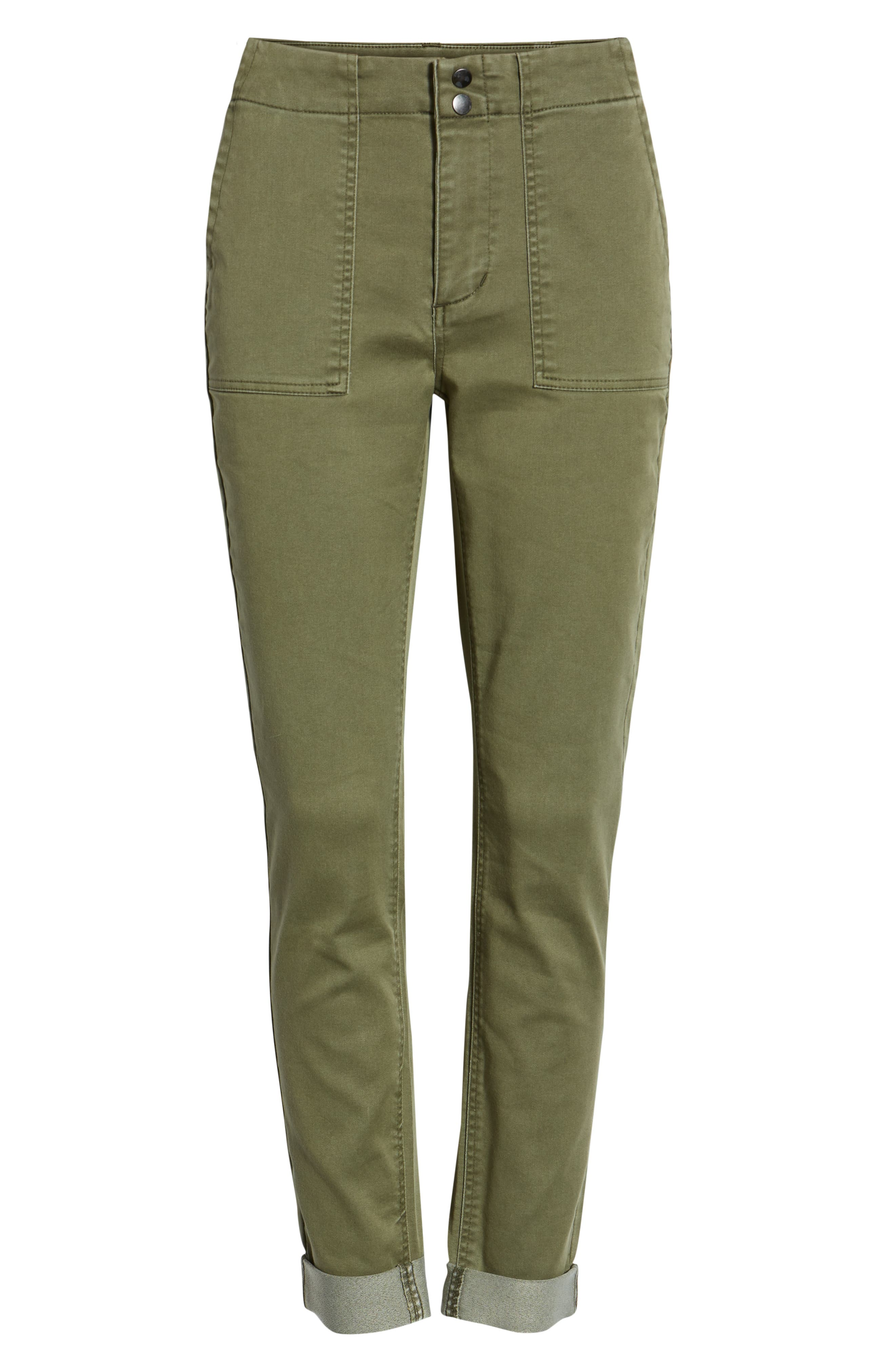 TINSEL, Cuffed Sateen Skinny Pants, Alternate thumbnail 7, color, DUSTY OLIVE