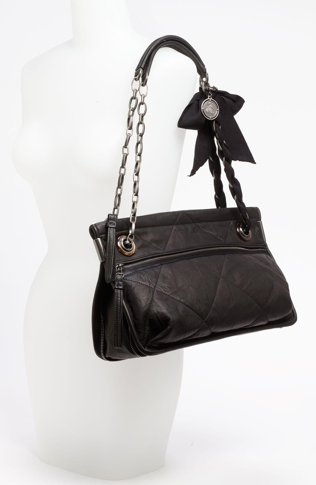 LANVIN, 'Amalia - Medium' Leather Shoulder Bag, Alternate thumbnail 2, color, 001