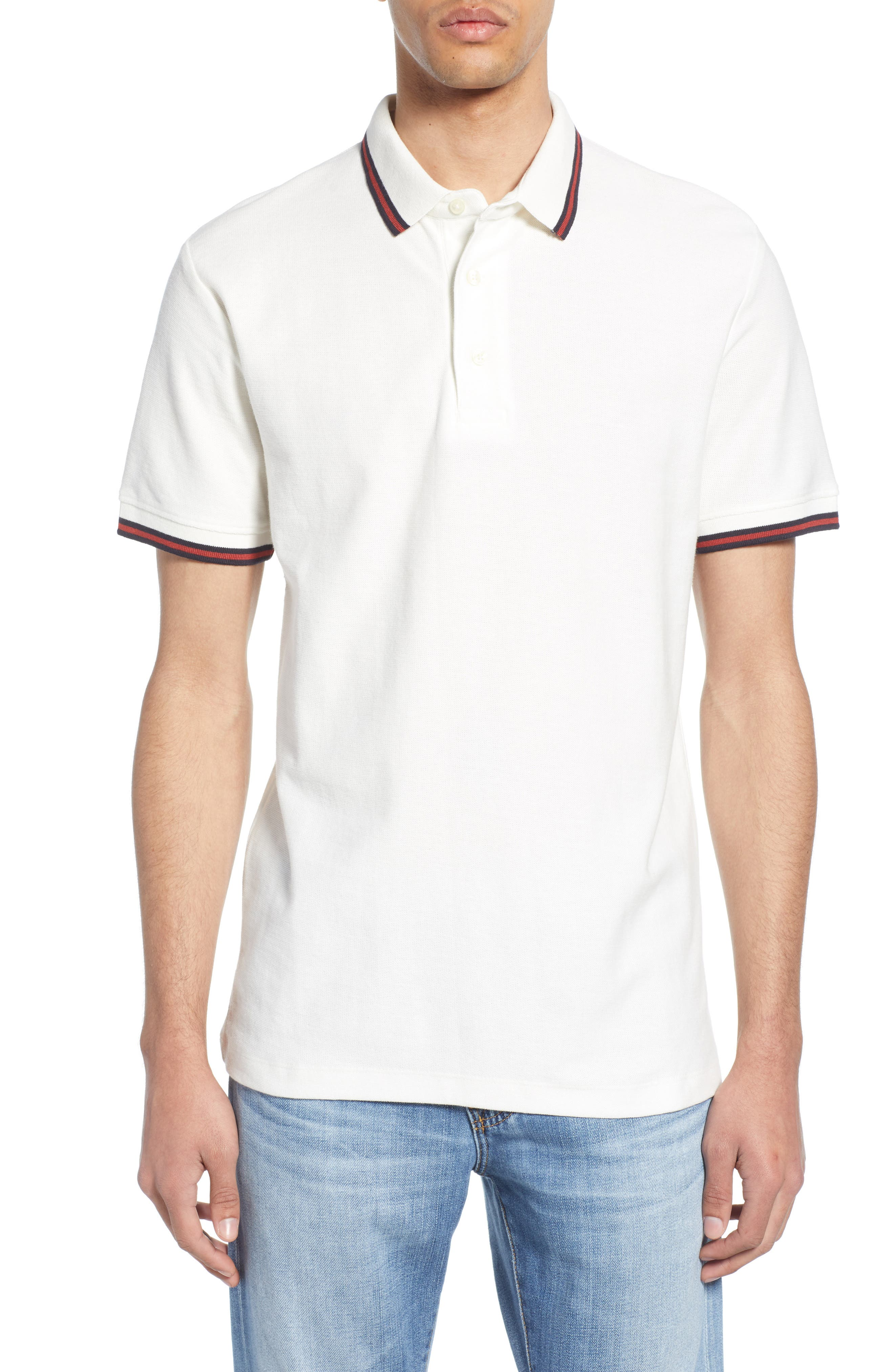 FRENCH CONNECTION, Dobby Jersey Regular Fit Polo, Main thumbnail 1, color, MILK BRICK RED