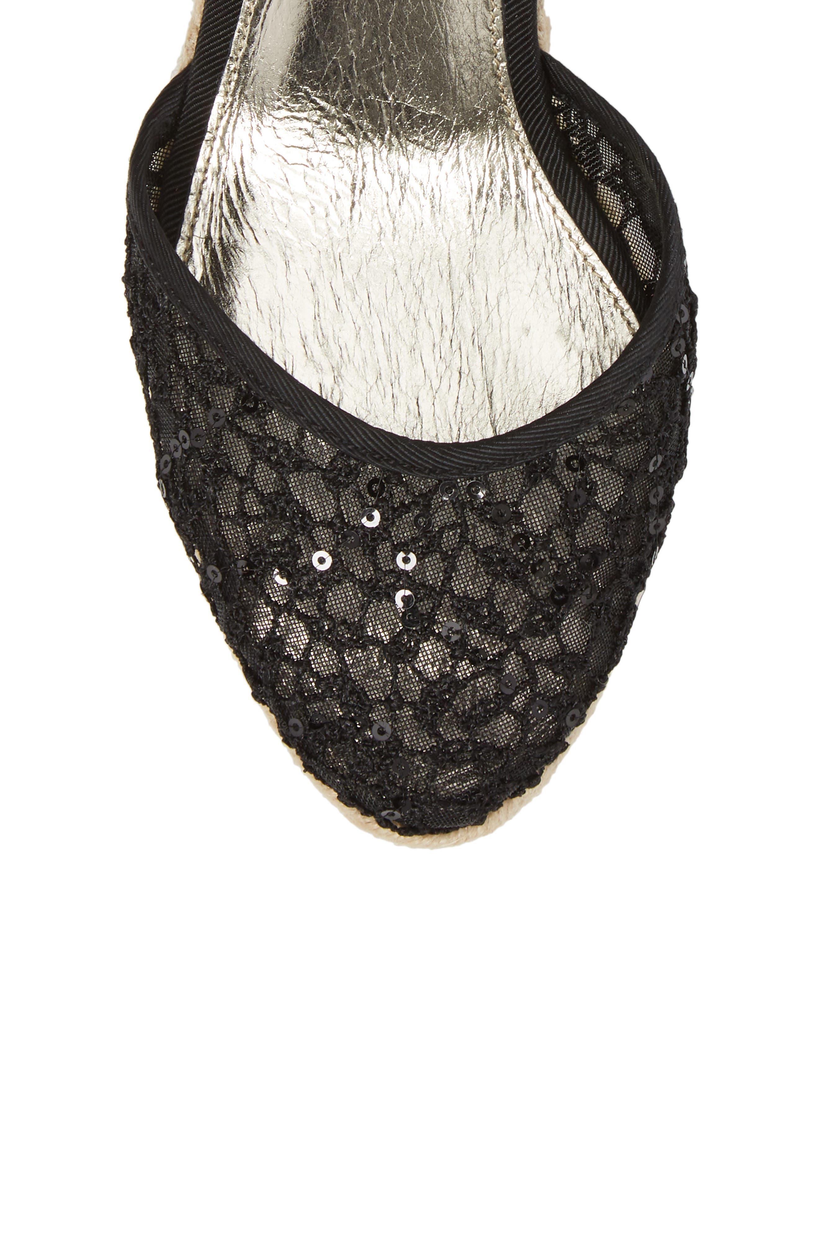 ADRIANNA PAPELL, Pamela Espadrille Wedge Sandal, Alternate thumbnail 5, color, BLACK LACE FABRIC