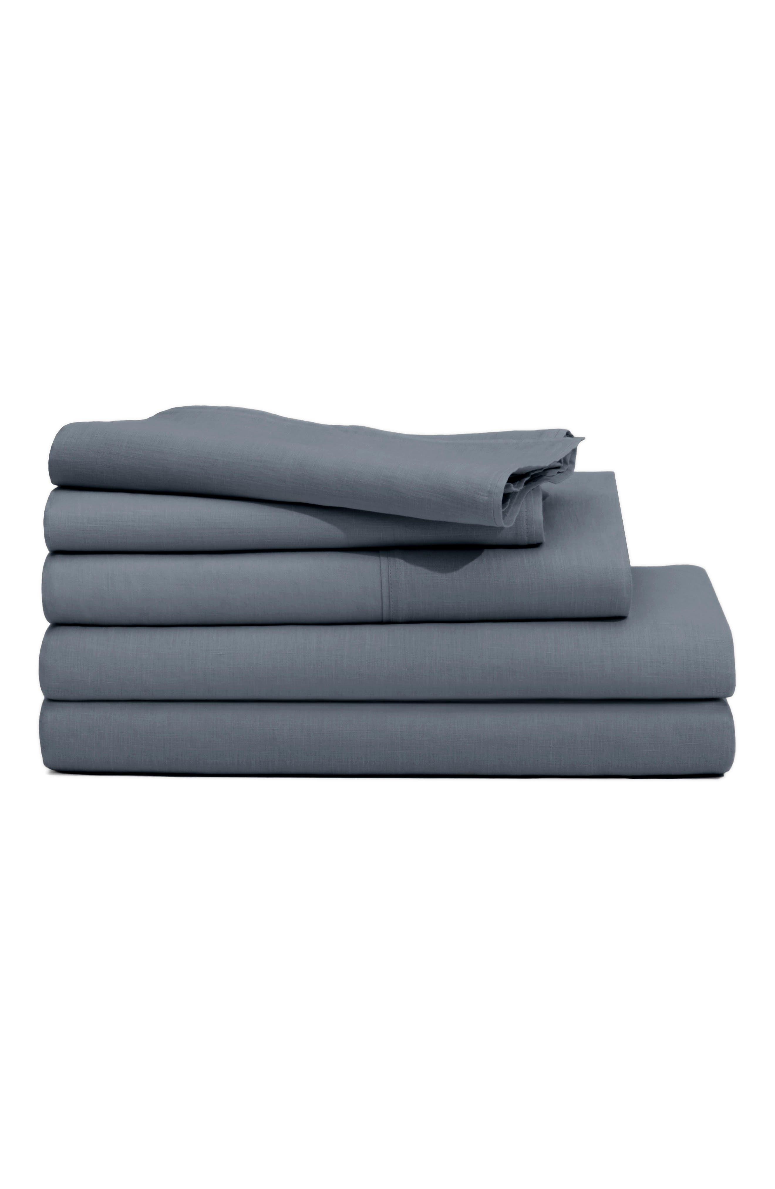 CASPER, The Linen Pillow Case Set, Main thumbnail 1, color, CHARCOAL