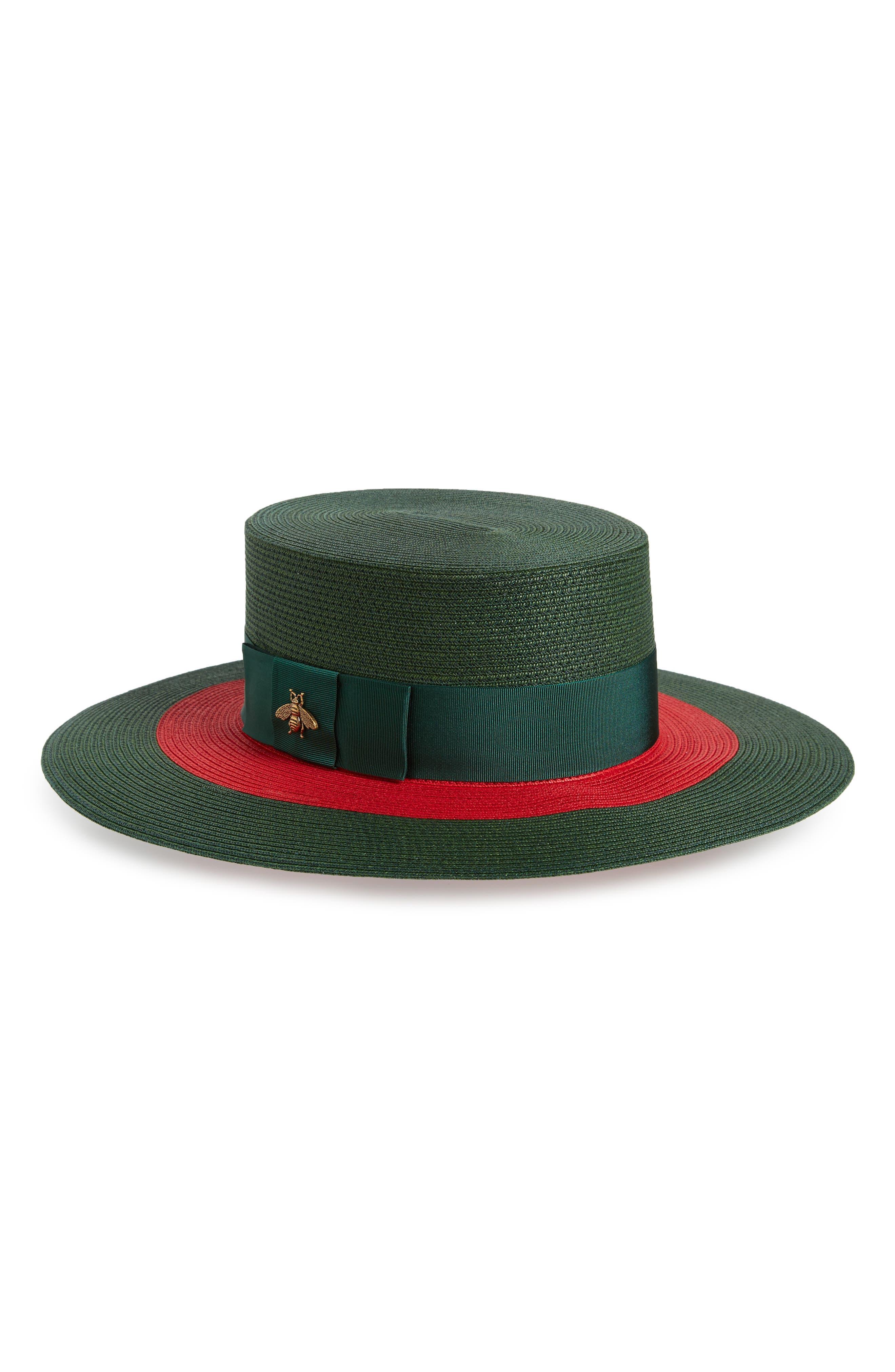 GUCCI, Alba Woven Straw Hat, Main thumbnail 1, color, 301