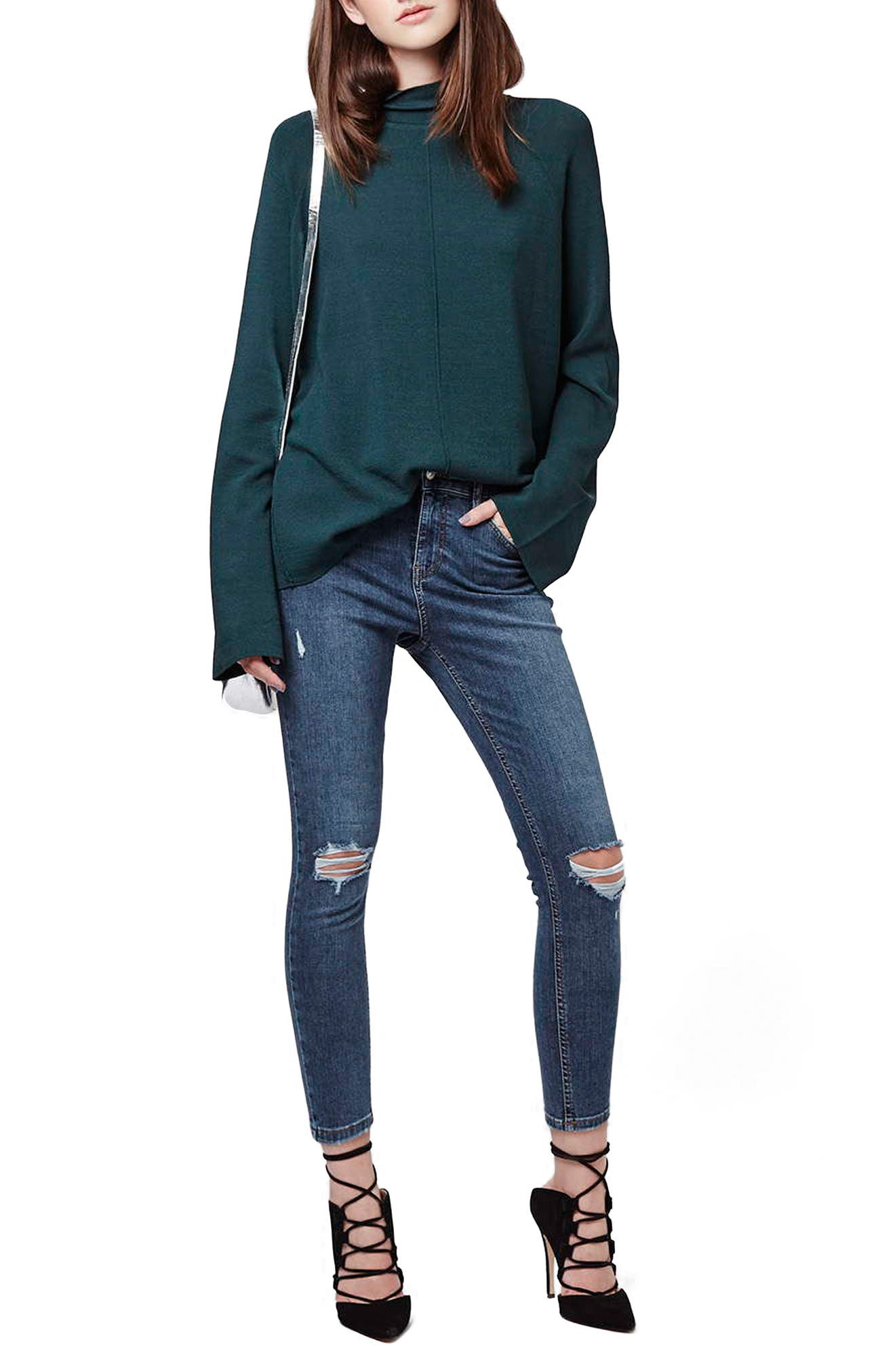 TOPSHOP, Moto 'Jamie' Ripped Skinny Ankle Jeans, Alternate thumbnail 9, color, MID DENIM