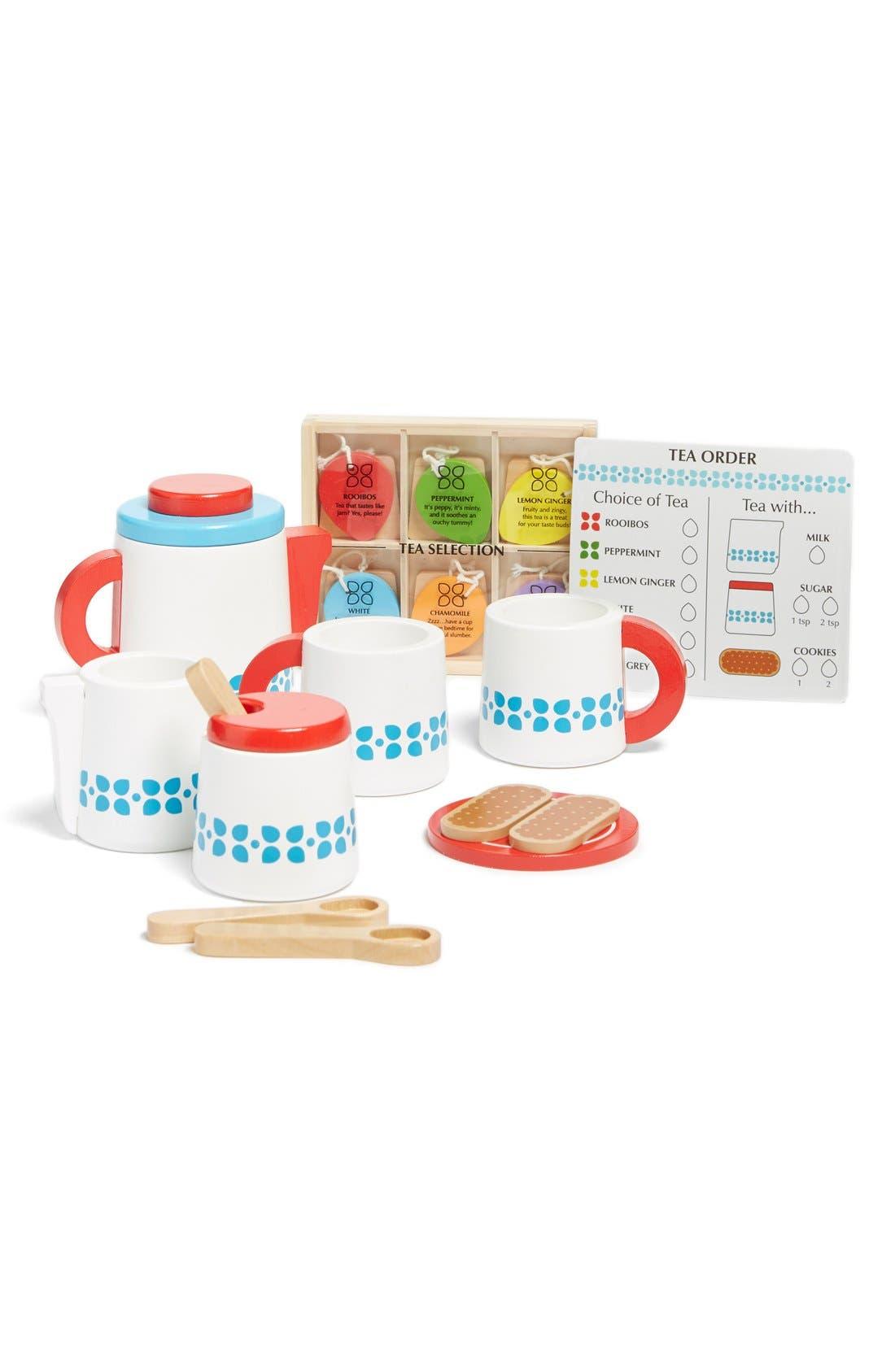 MELISSA & DOUG, 'Steep & Serve' Wooden Tea Set, Main thumbnail 1, color, MULTI