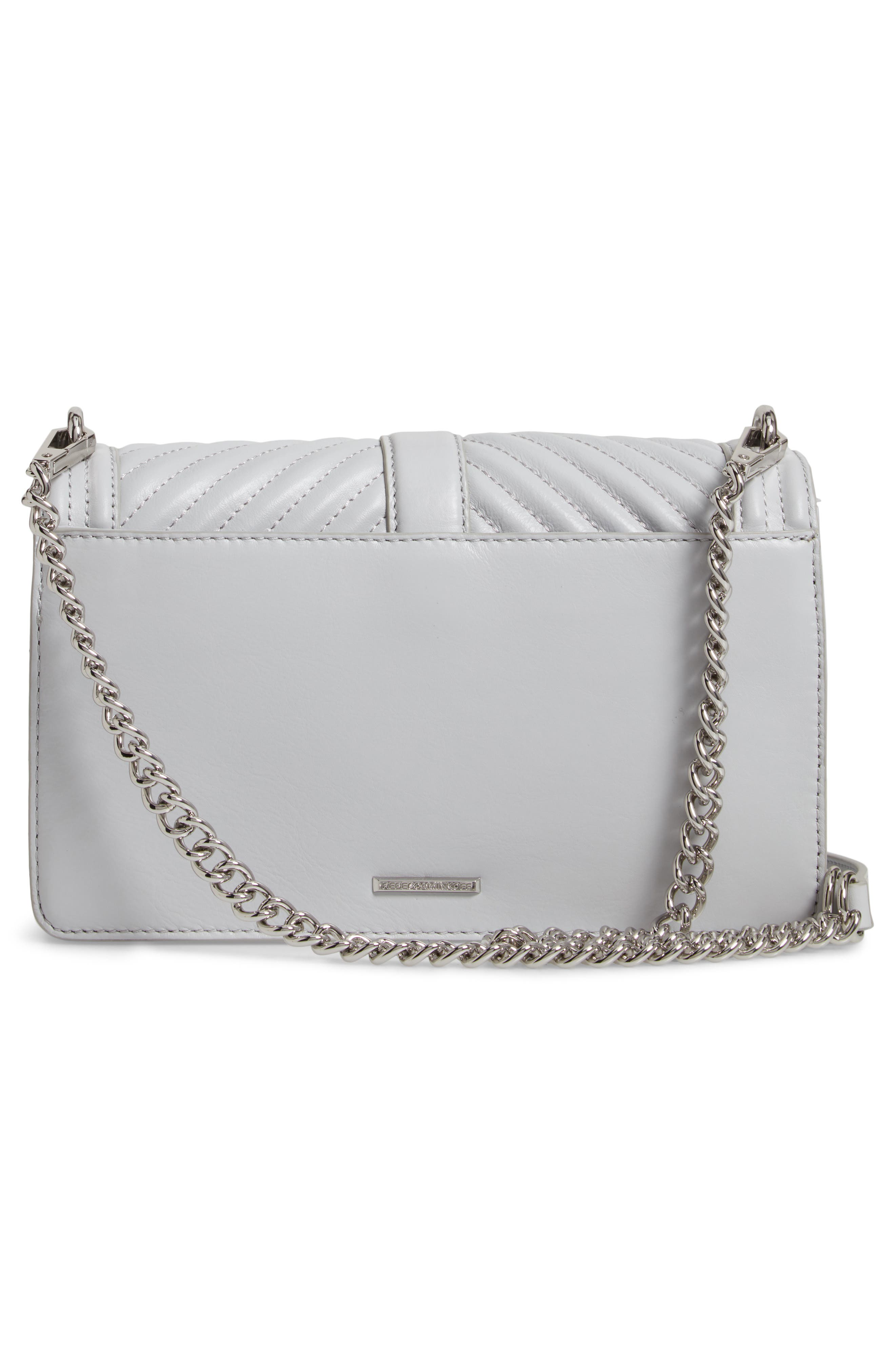 REBECCA MINKOFF, 'Chevron Quilted Love' Crossbody Bag, Alternate thumbnail 4, color, ICE GREY