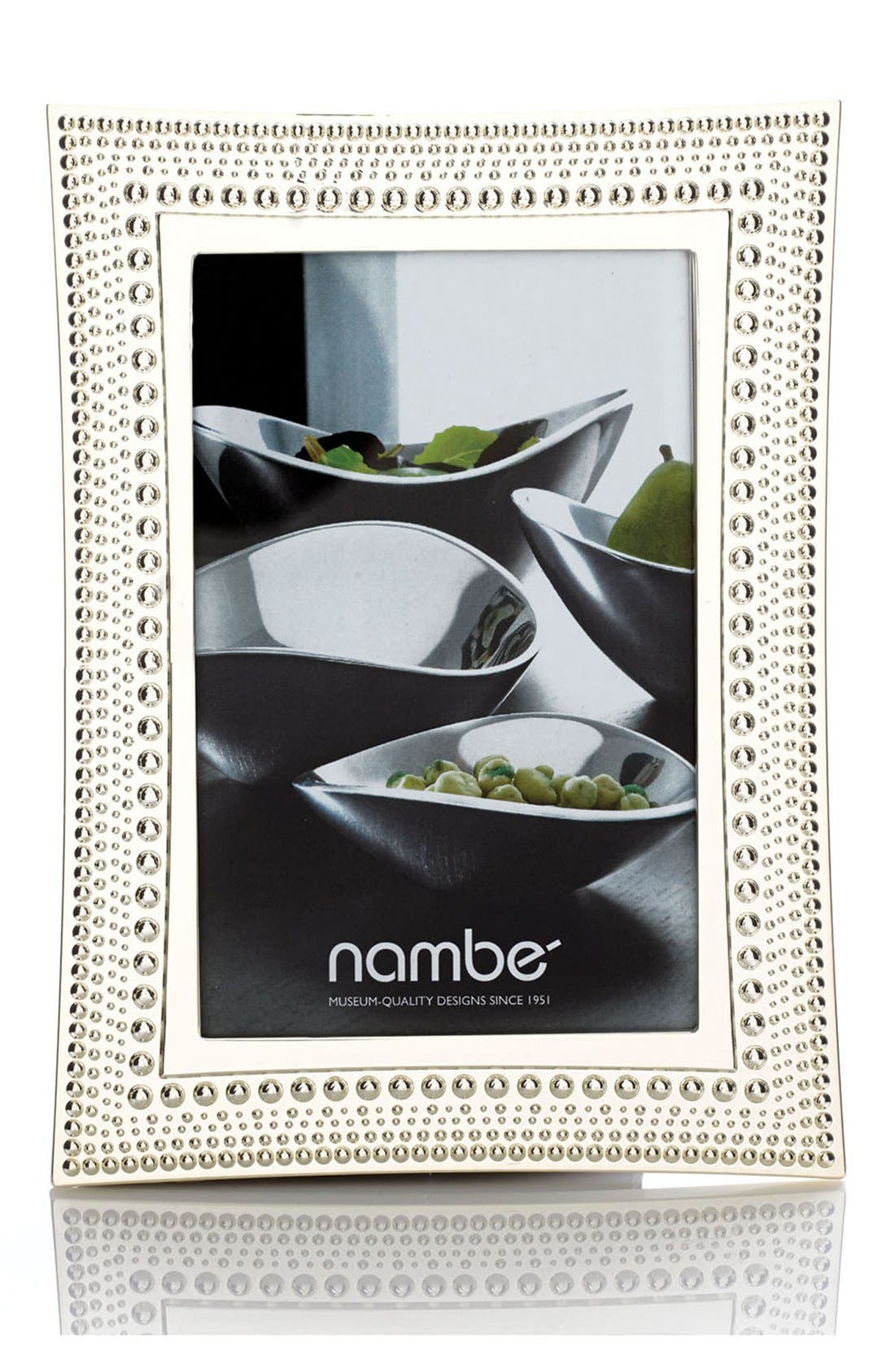 NAMBÉ, Beaded Picture Frame, Alternate thumbnail 4, color, SILVER
