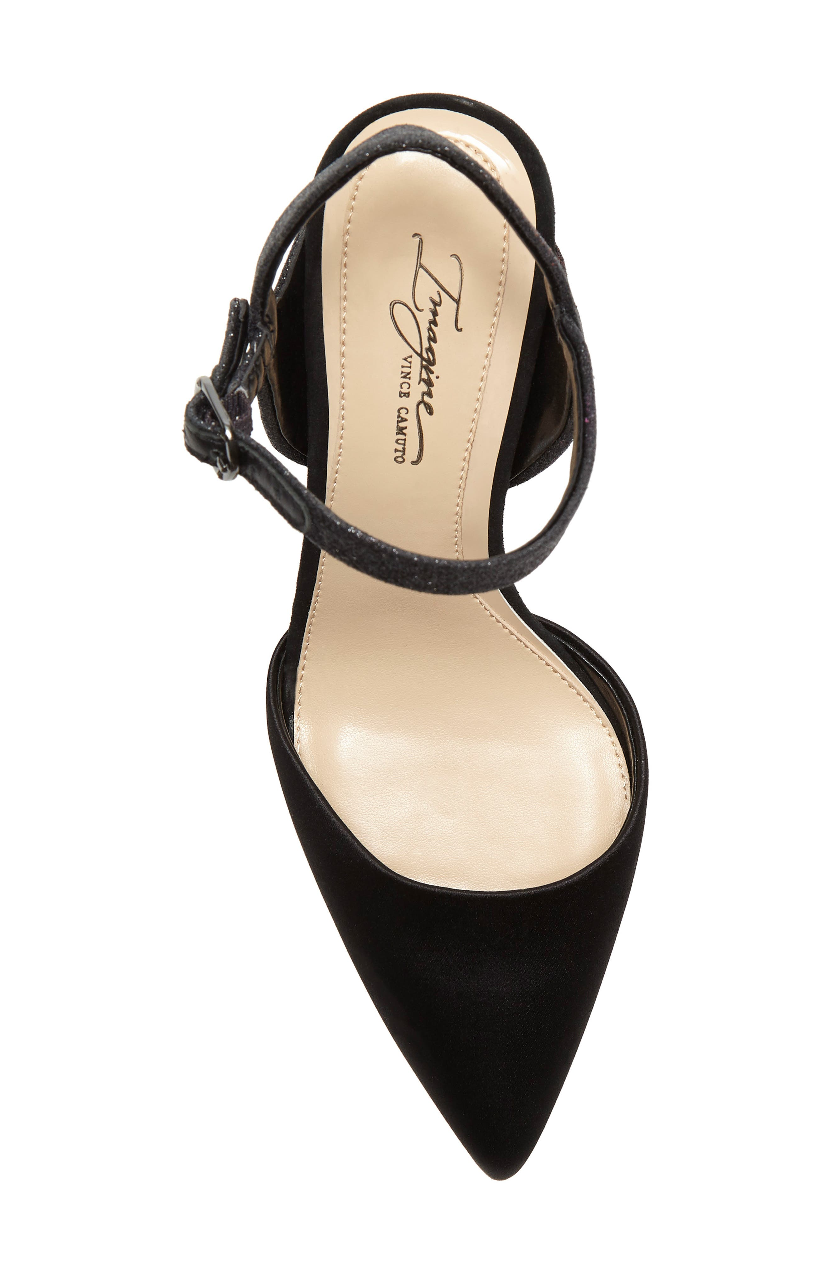 IMAGINE BY VINCE CAMUTO, Glora Pointy Toe Pump, Alternate thumbnail 5, color, BLACK SATIN