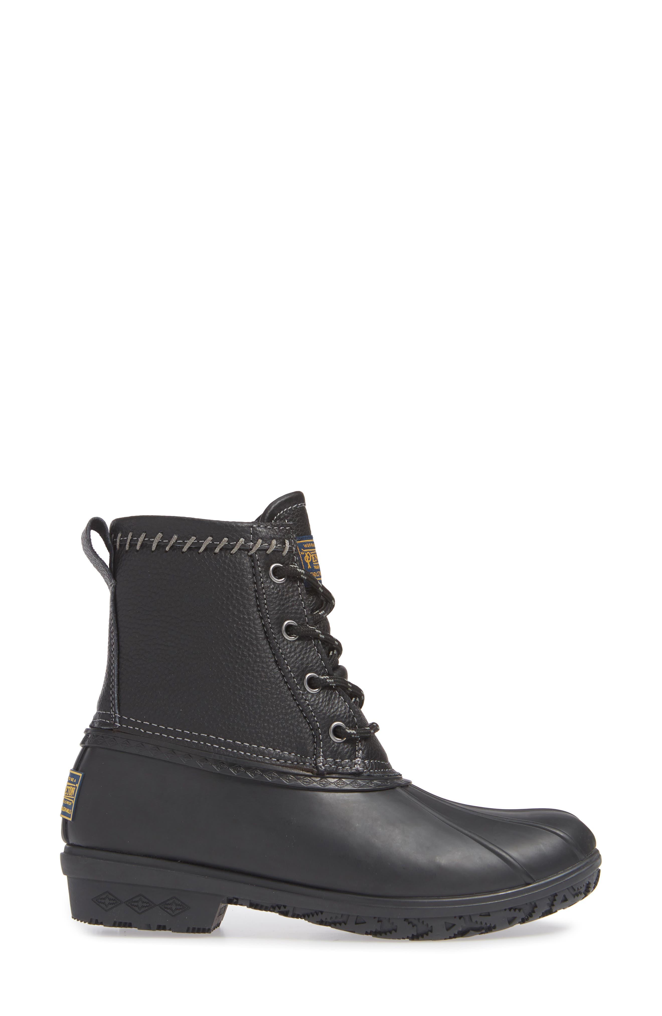 PENDLETON, Waterproof Duck Boot, Alternate thumbnail 3, color, BLACK RUBBER