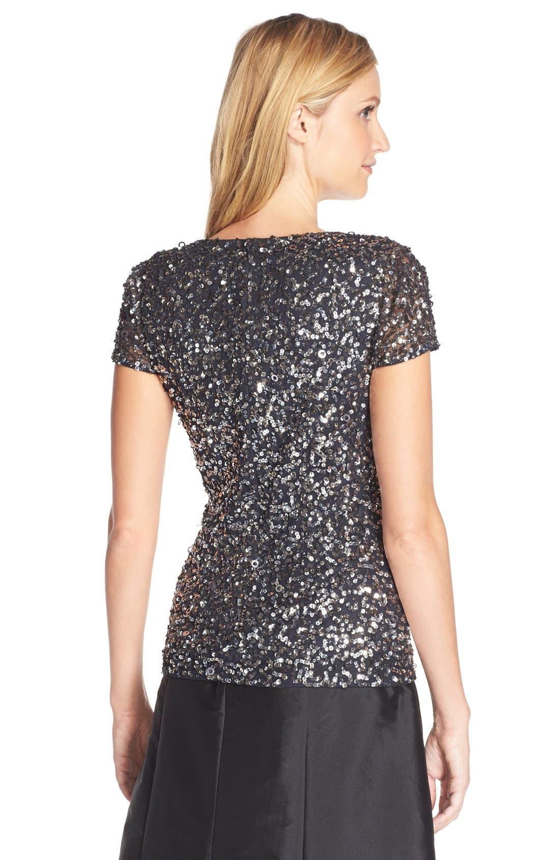ADRIANNA PAPELL, Sequin Mesh Top, Alternate thumbnail 3, color, 020