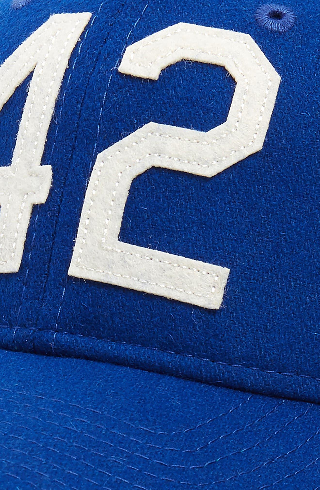 NEW ERA CAP, Jackie Robinson 42 9Twenty Wool Blend Baseball Cap, Alternate thumbnail 3, color, 400