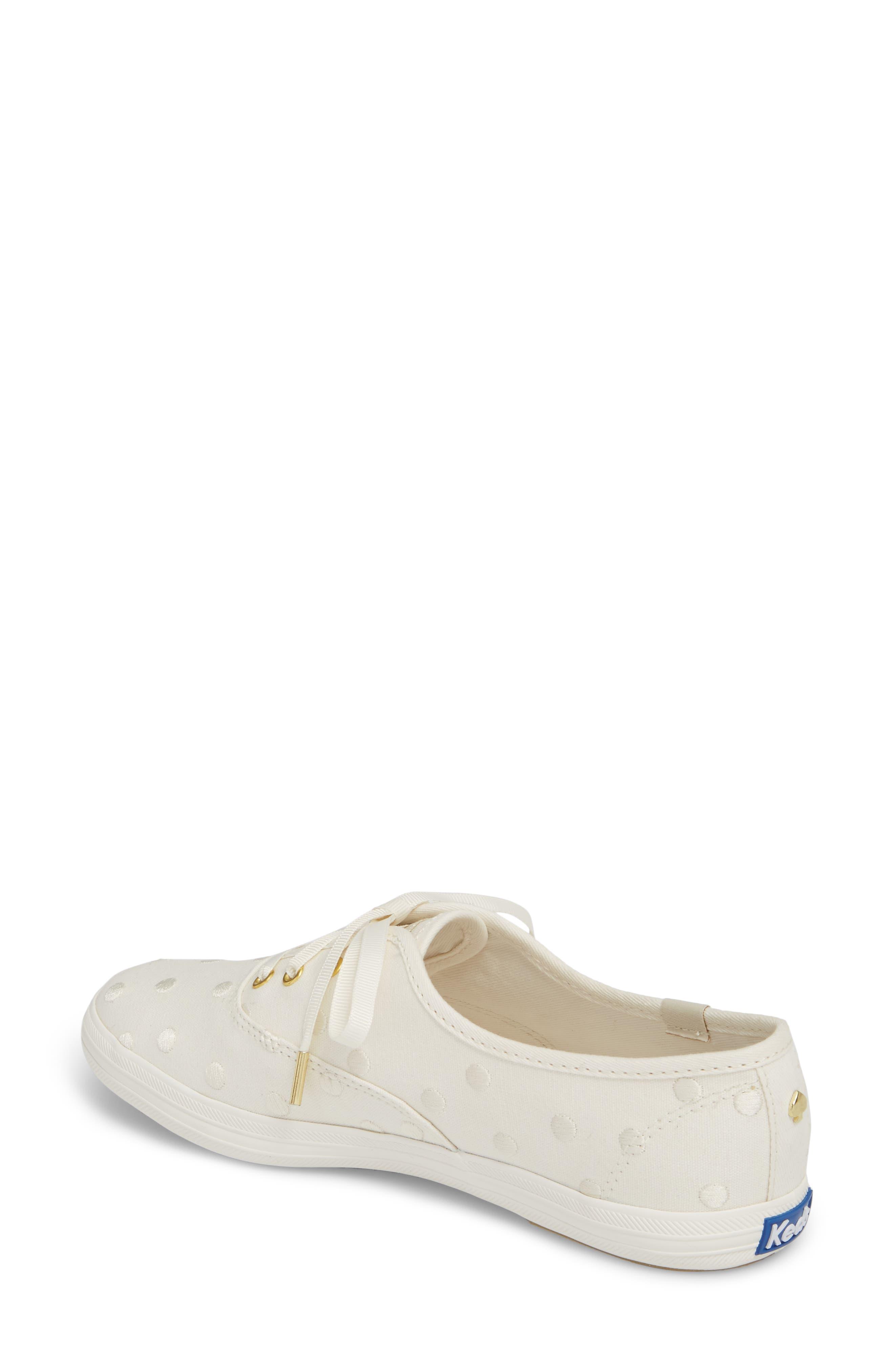 KEDS<SUP>®</SUP> FOR KATE SPADE NEW YORK, champion dancing dot sneaker, Alternate thumbnail 2, color, WHITE