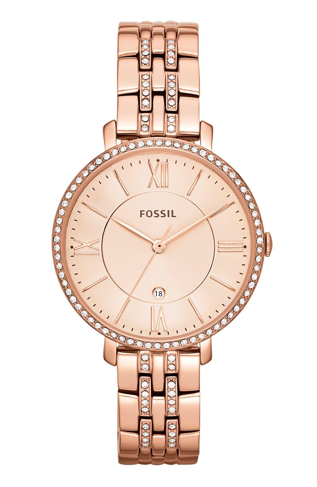 FOSSIL, 'Jacqueline' Crystal Bezel Bracelet Watch, 36mm, Main thumbnail 1, color, ROSE GOLD
