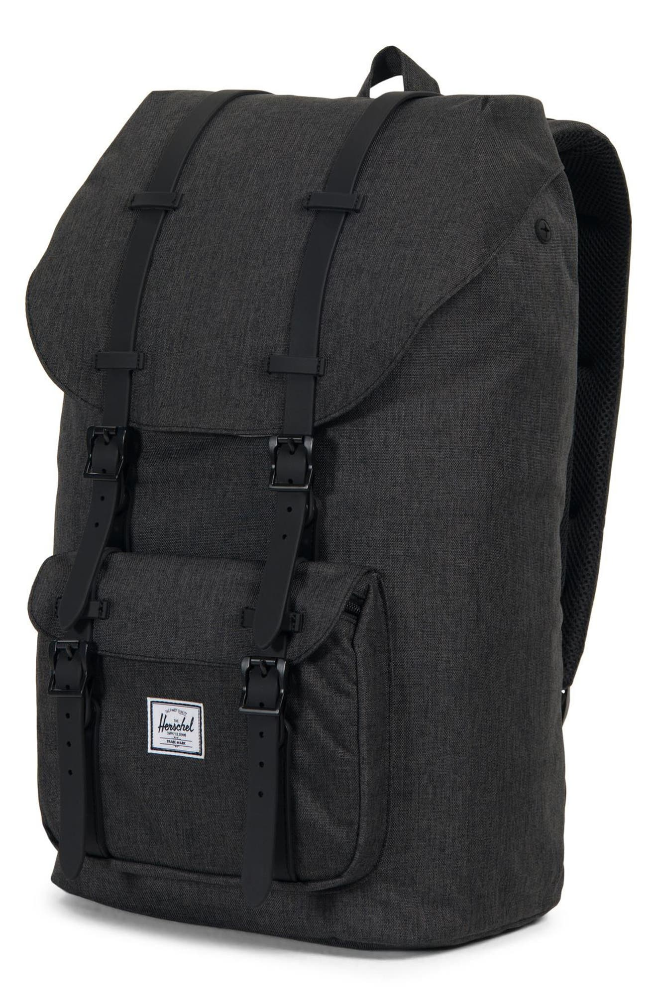 HERSCHEL SUPPLY CO., Little America Backpack, Alternate thumbnail 6, color, BLACK CROSSHATCH/ BLACK RUBBER