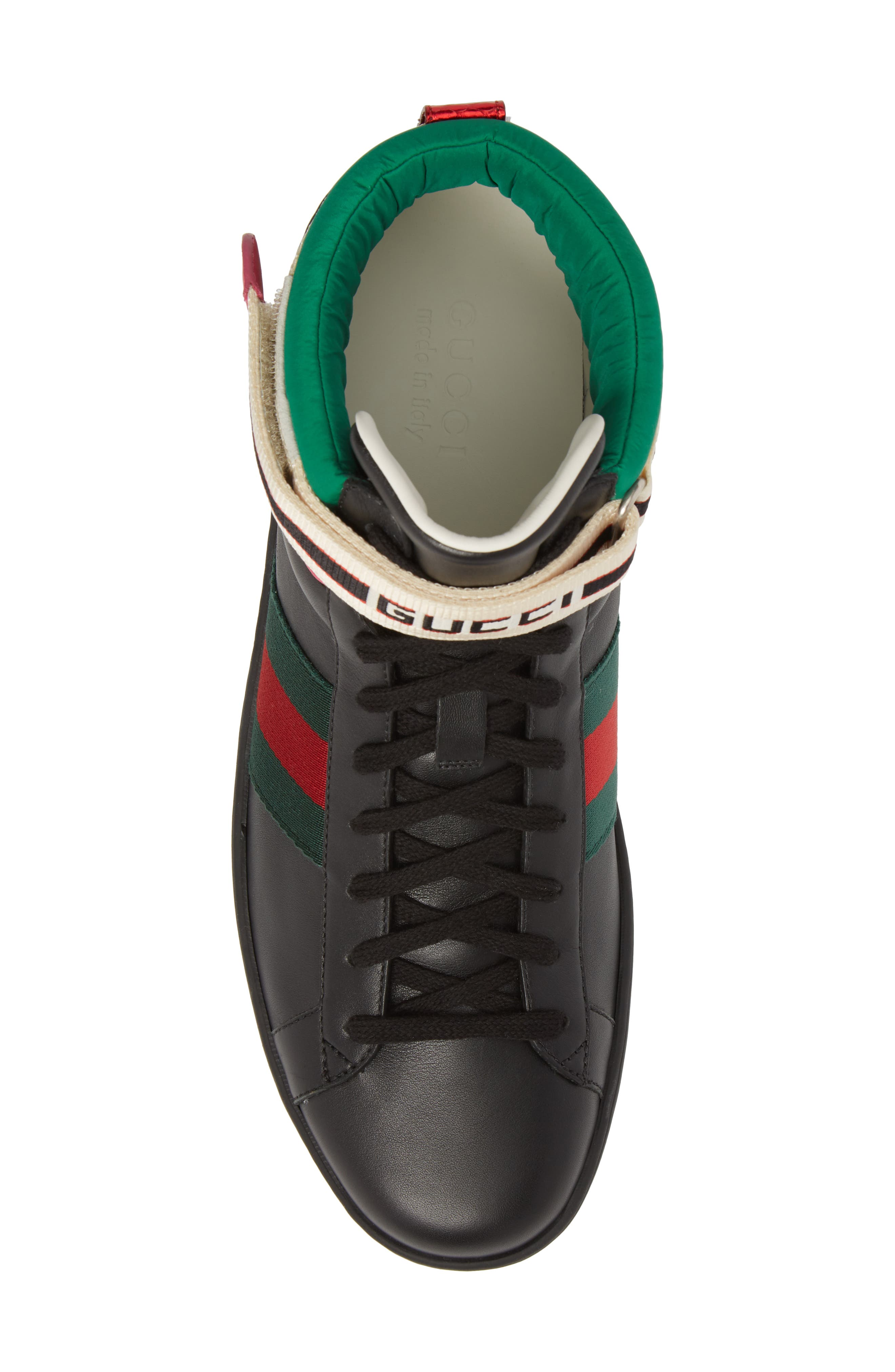 GUCCI, New Ace Stripe High Top Sneaker, Alternate thumbnail 5, color, BLACK