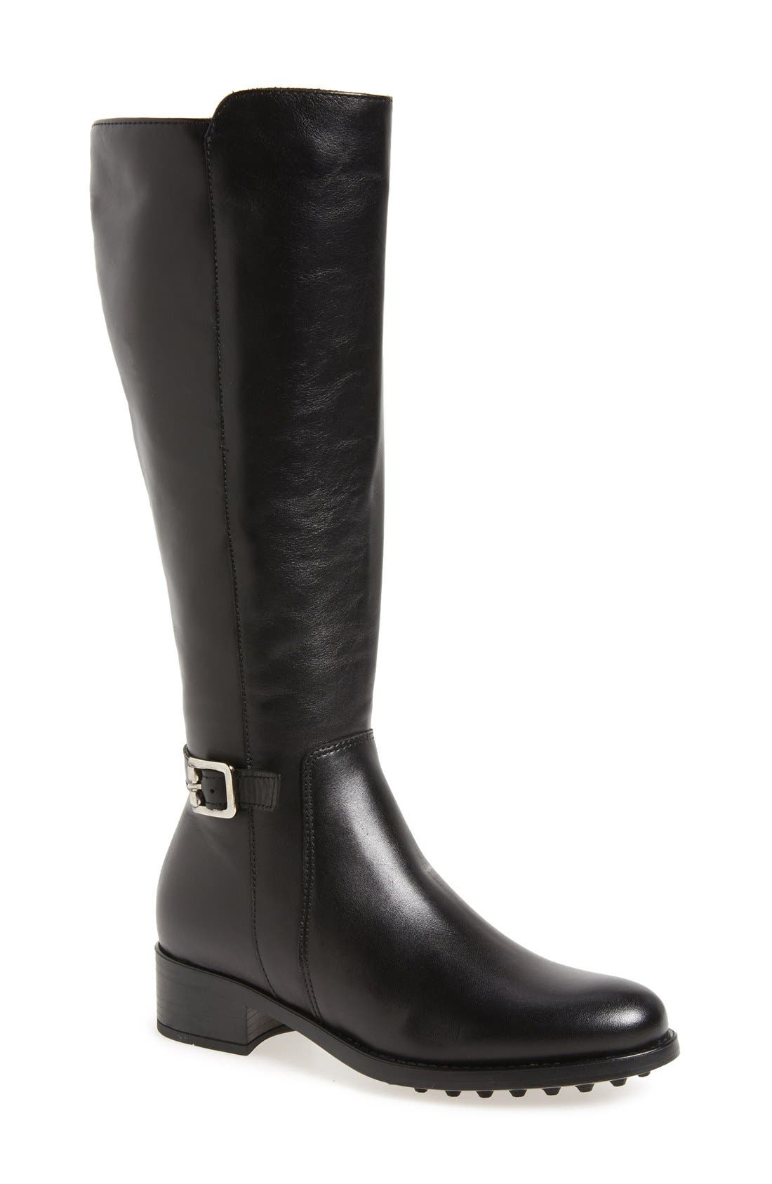 LA CANADIENNE Silvana Waterproof Riding Boot, Main, color, BLACK LEATHER