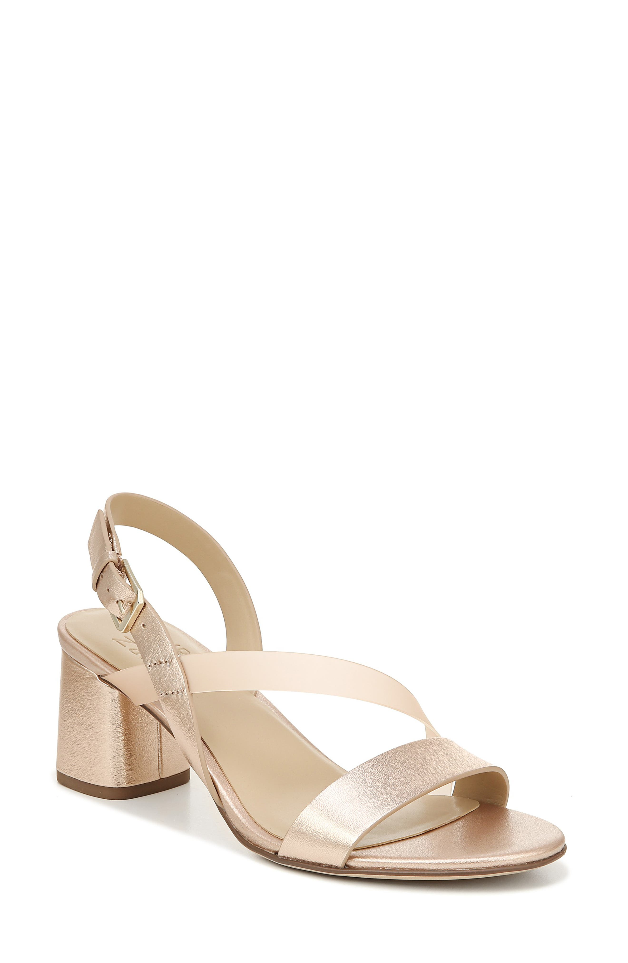 NATURALIZER, Arianna Block Heel Sandal, Main thumbnail 1, color, ROSE GOLD LEATHER