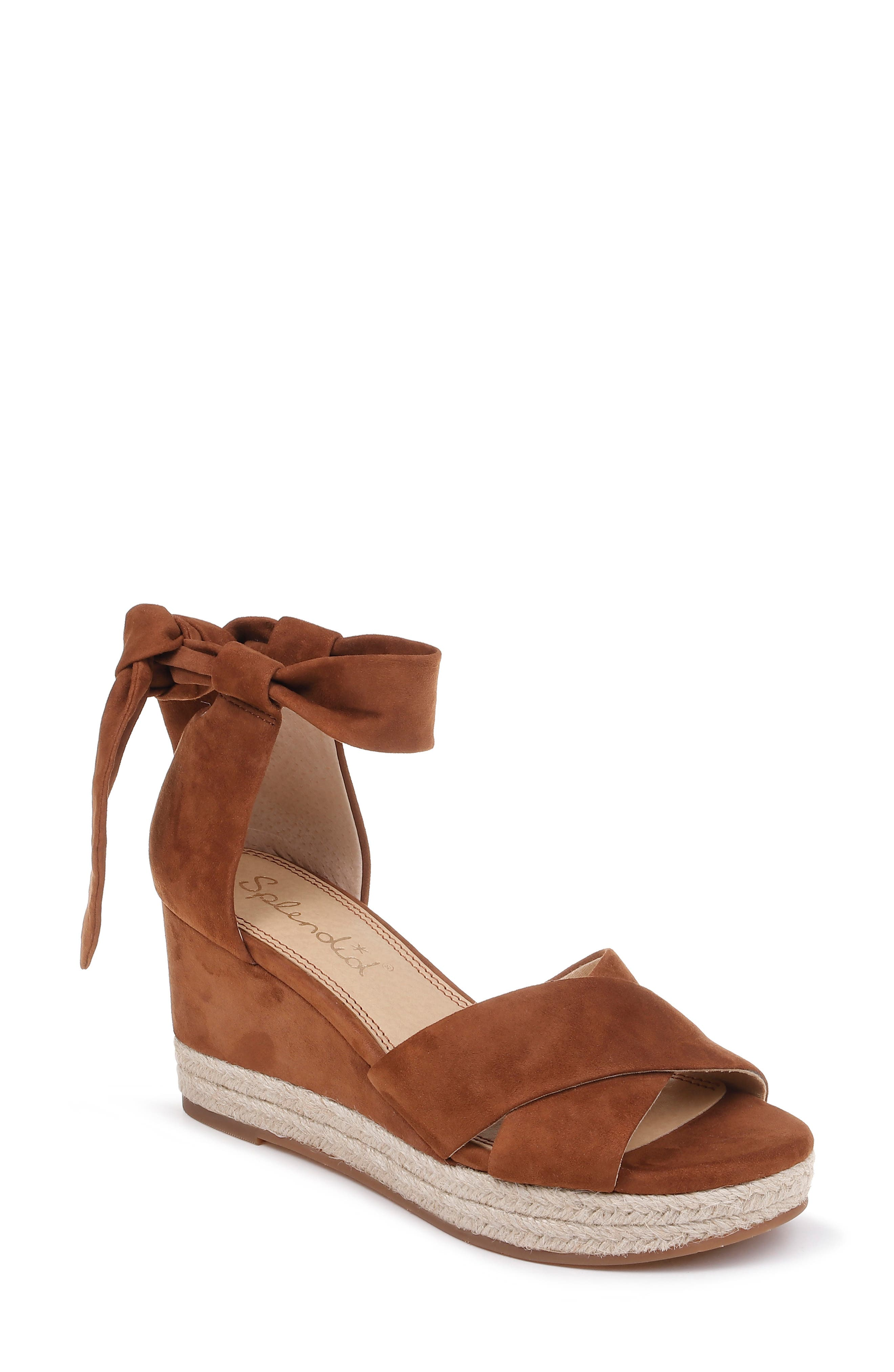 SPLENDID Terrence Ankle Wrap Wedge Sandal, Main, color, CHESTNUT SUEDE