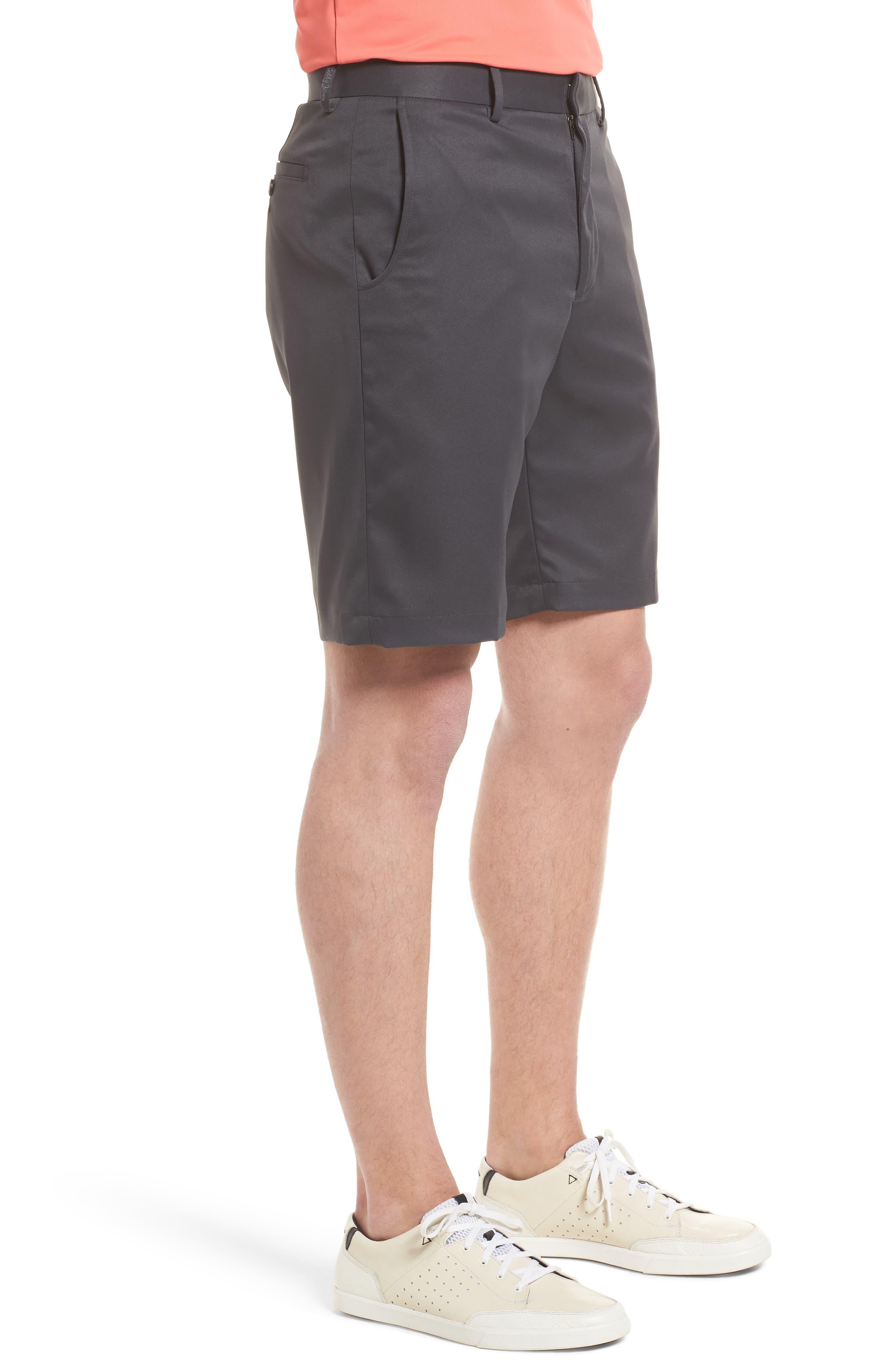 BOBBY JONES, Flat Front Tech Shorts, Alternate thumbnail 3, color, CHARCOAL