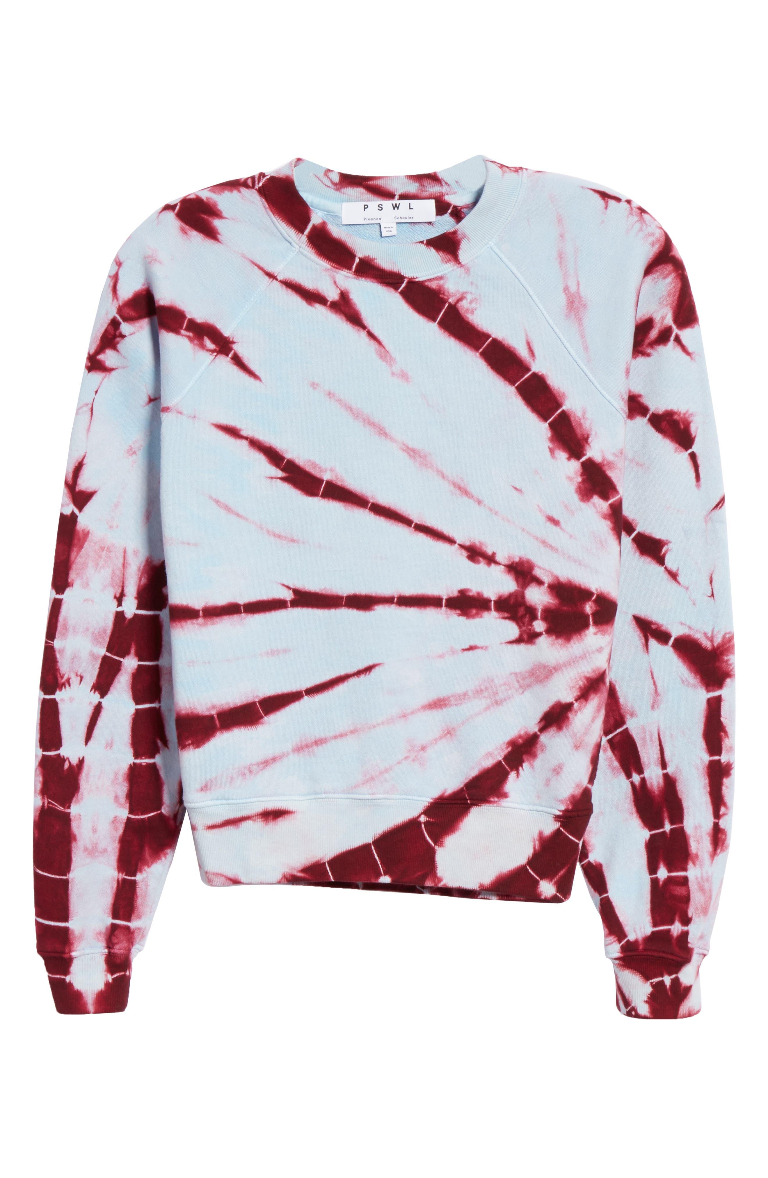 PROENZA SCHOULER, PSWL Tie Dye Sweatshirt, Alternate thumbnail 6, color, BABY BLUE/ RED TIE DYE