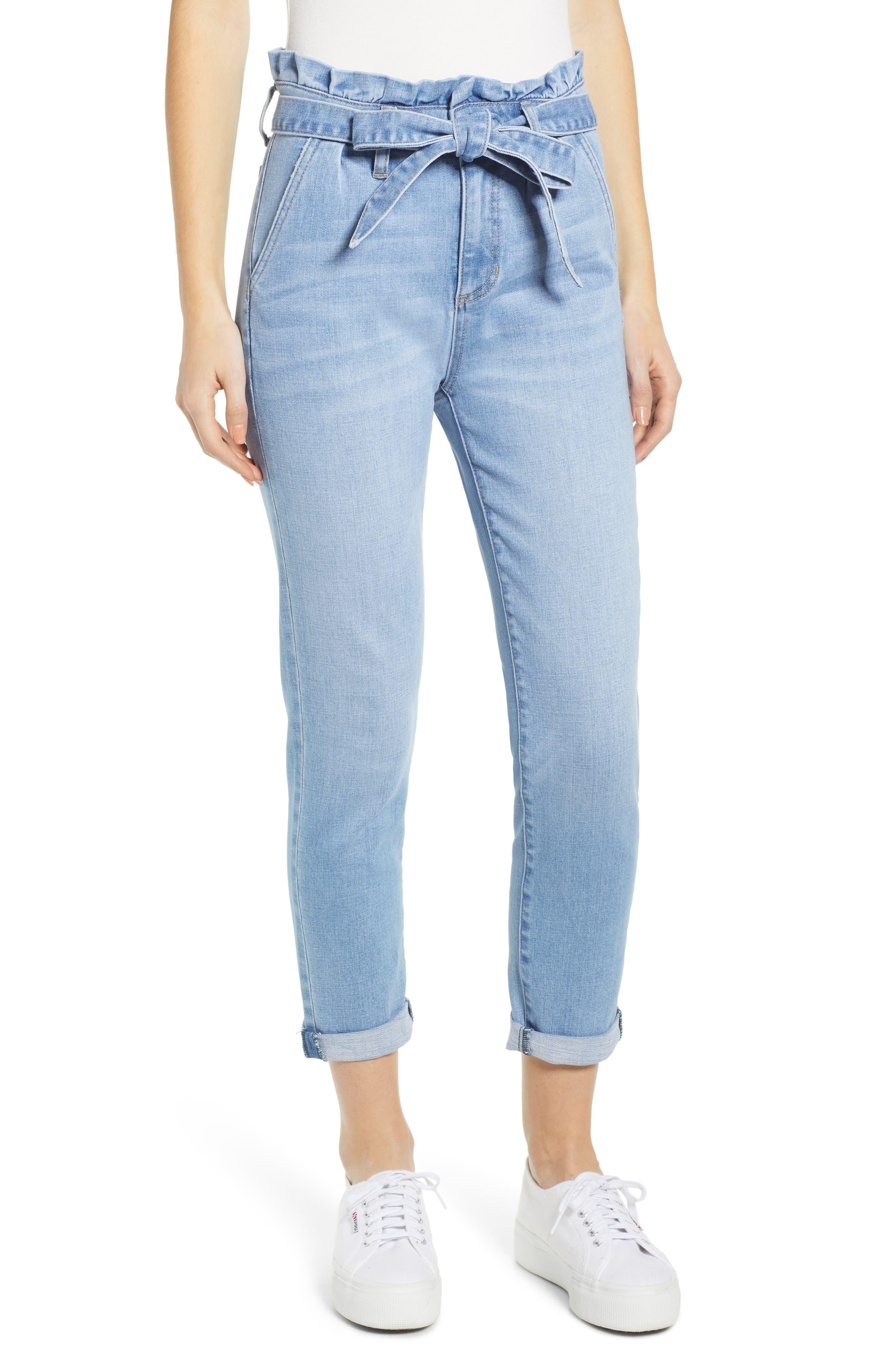 PROSPERITY DENIM Paperbag Waist Skinny Jeans, Main, color, MEDIUM WASH