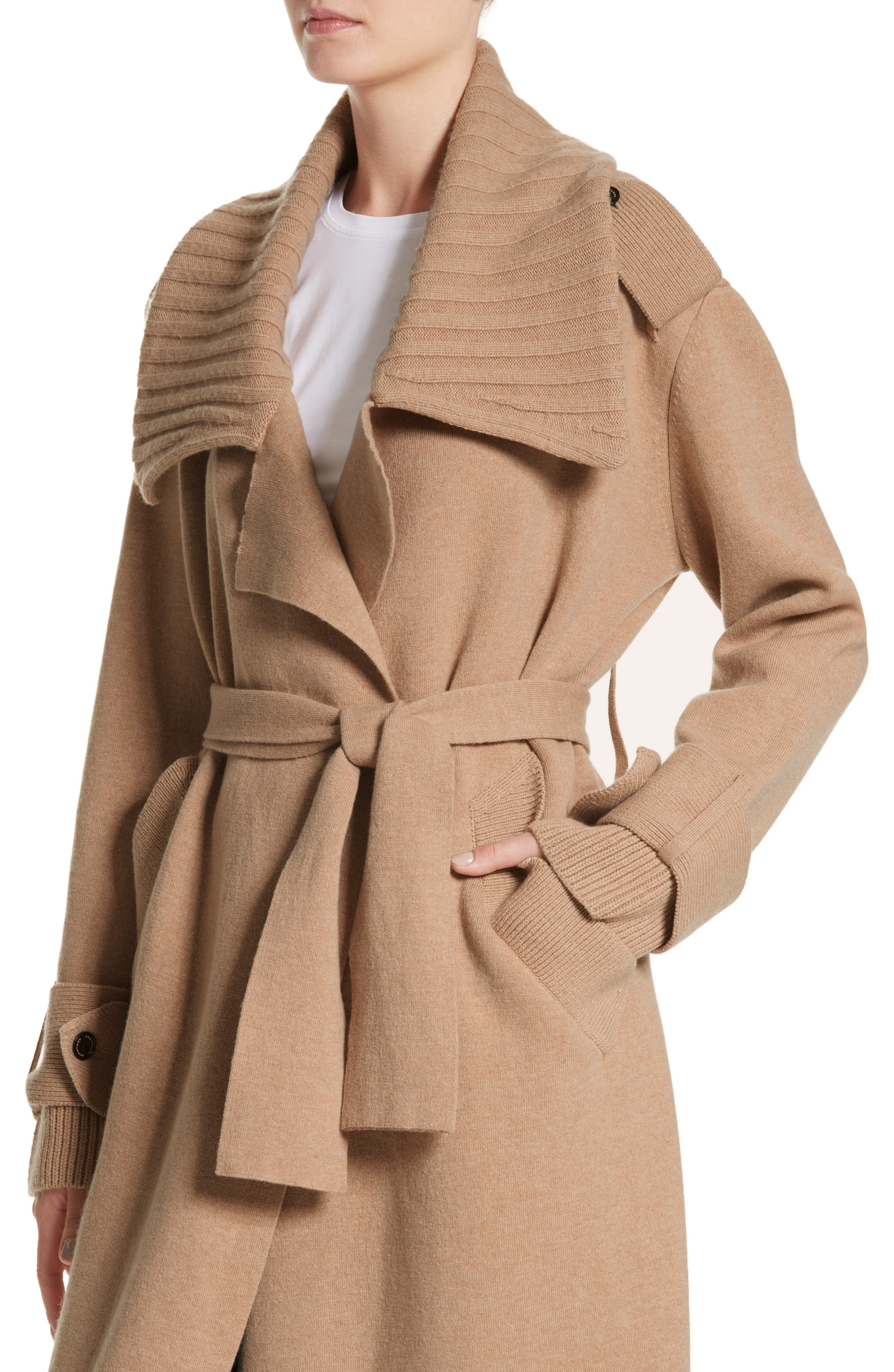 BURBERRY, Piota Wool Blend Knit Trench Coat, Alternate thumbnail 5, color, CAMEL