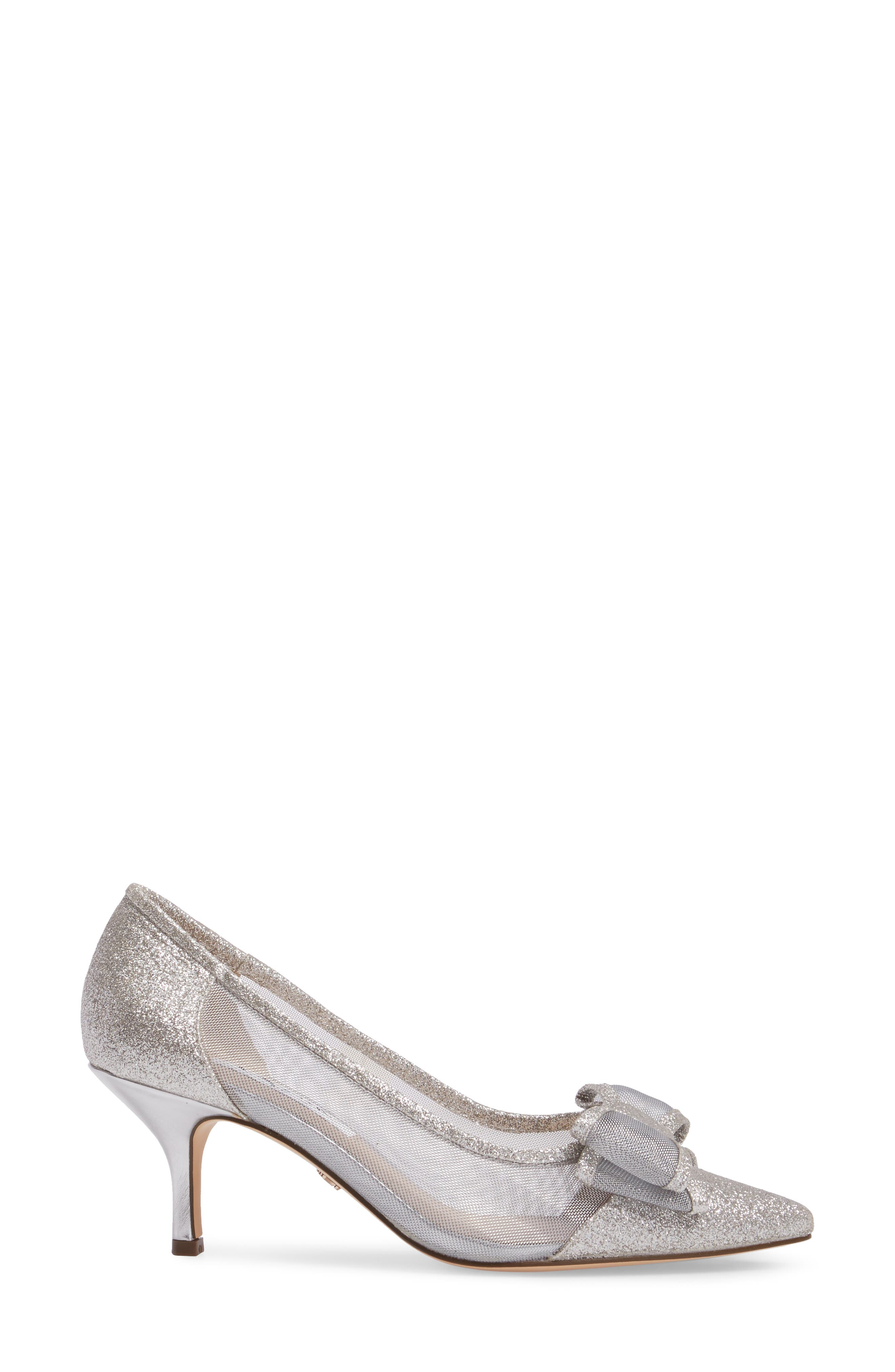 NINA, Bianca Pointy Toe Pump, Alternate thumbnail 3, color, SOFT SILVER GLITTER FABRIC