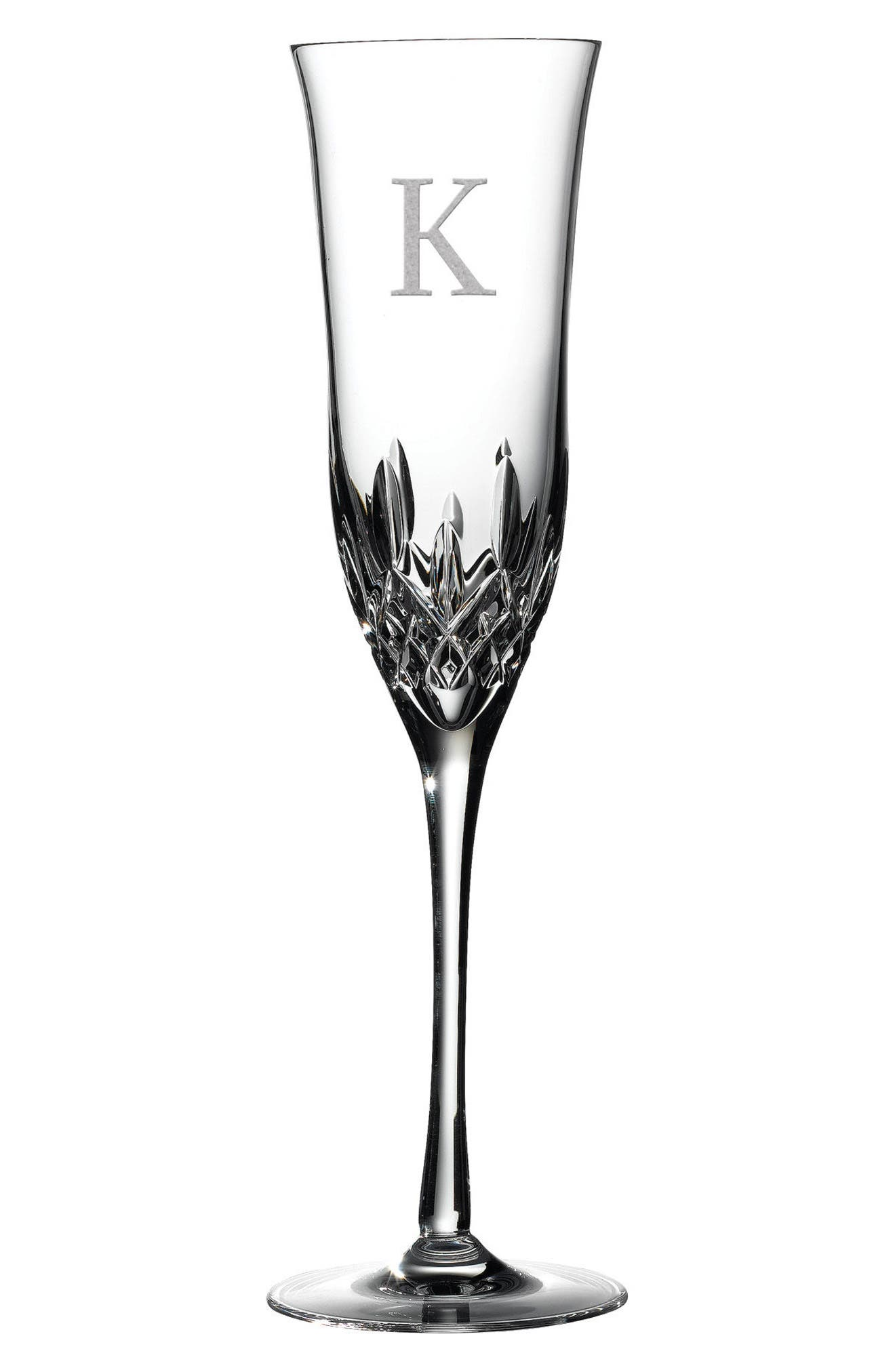 WATERFORD, Lismore Essence Set of 2 Monogram Lead Crystal Champagne Flutes, Main thumbnail 1, color, CLEAR - K