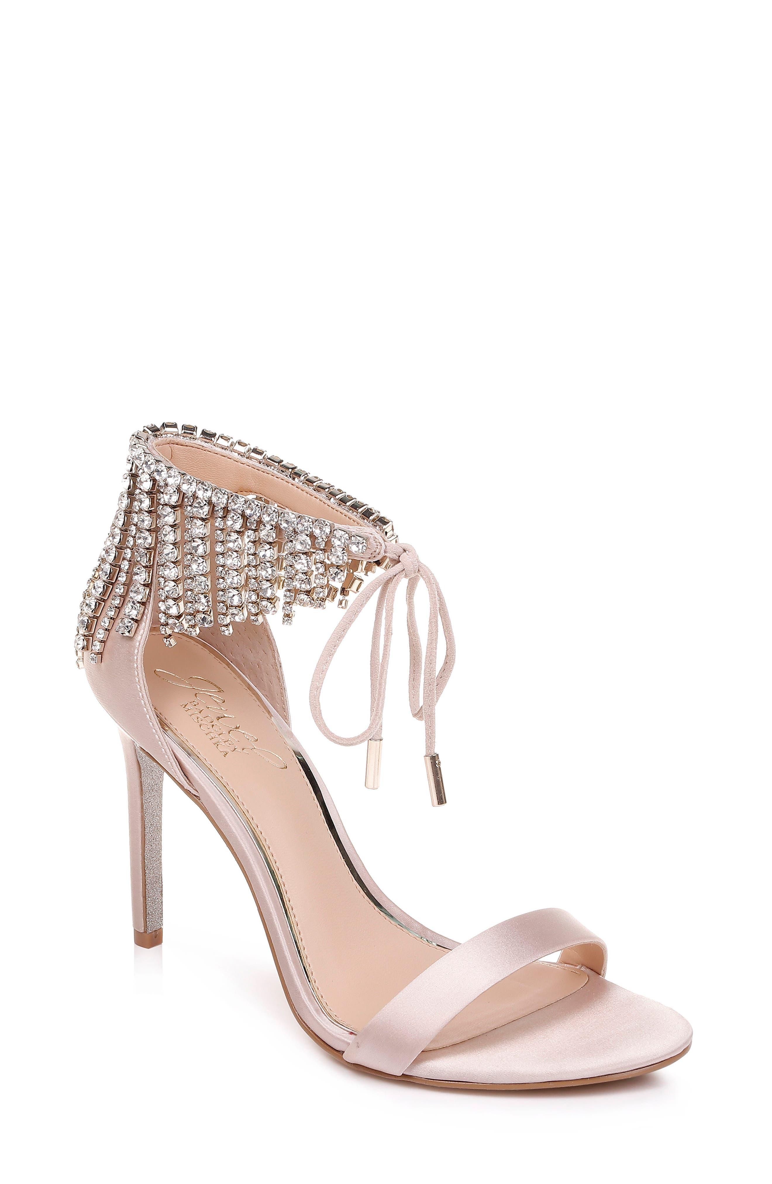Jewel Badgley Mischka Darielle Ankle Strap Sandal- Ivory