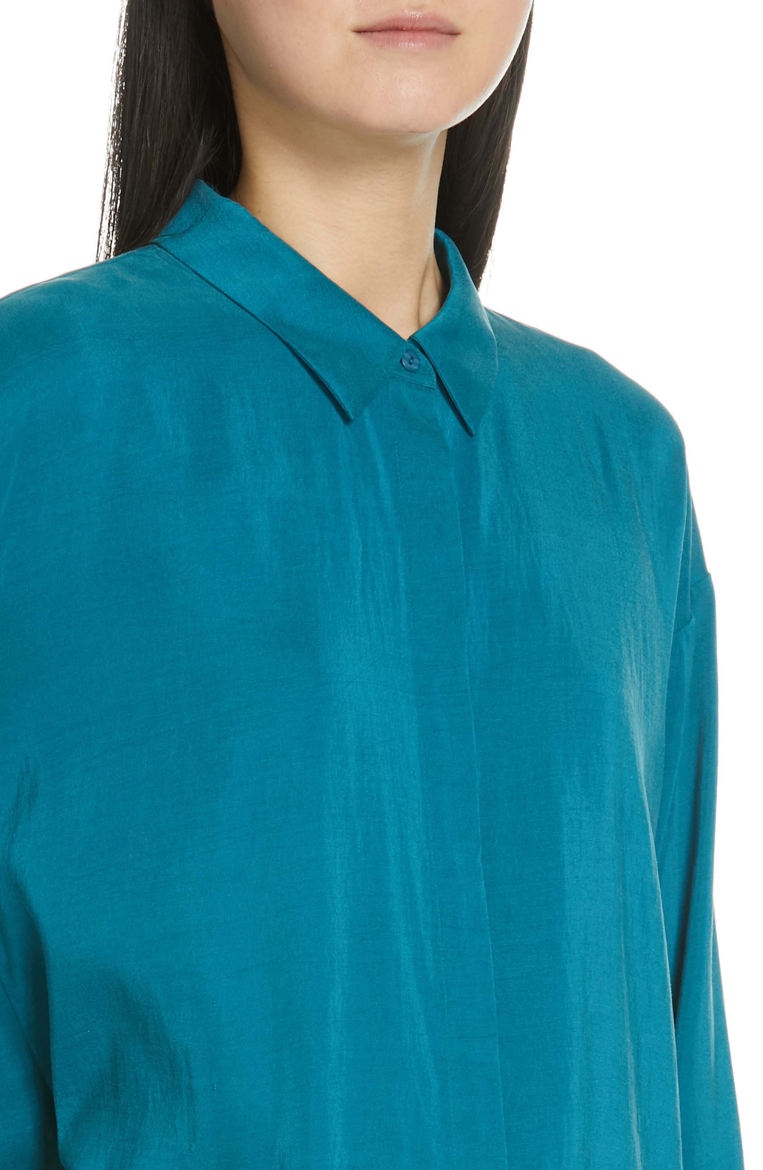 EILEEN FISHER, Long Classic Collar Silk Shirt, Alternate thumbnail 4, color, TEAL
