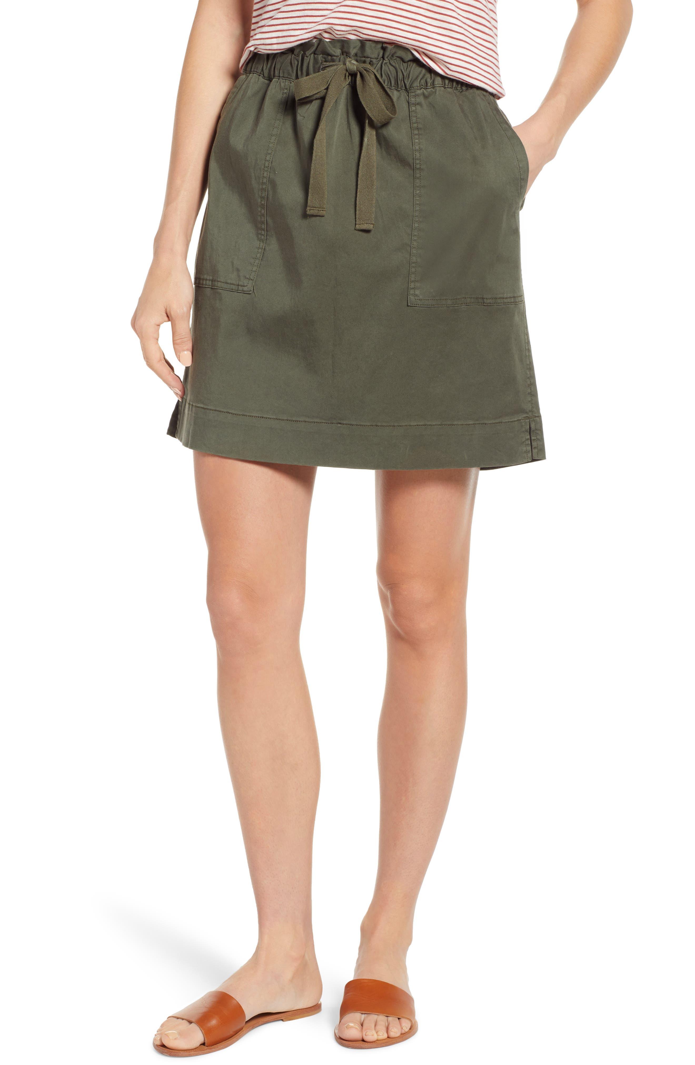 CASLON<SUP>®</SUP> Paperbag Waist Skirt, Main, color, GREEN BEETLE