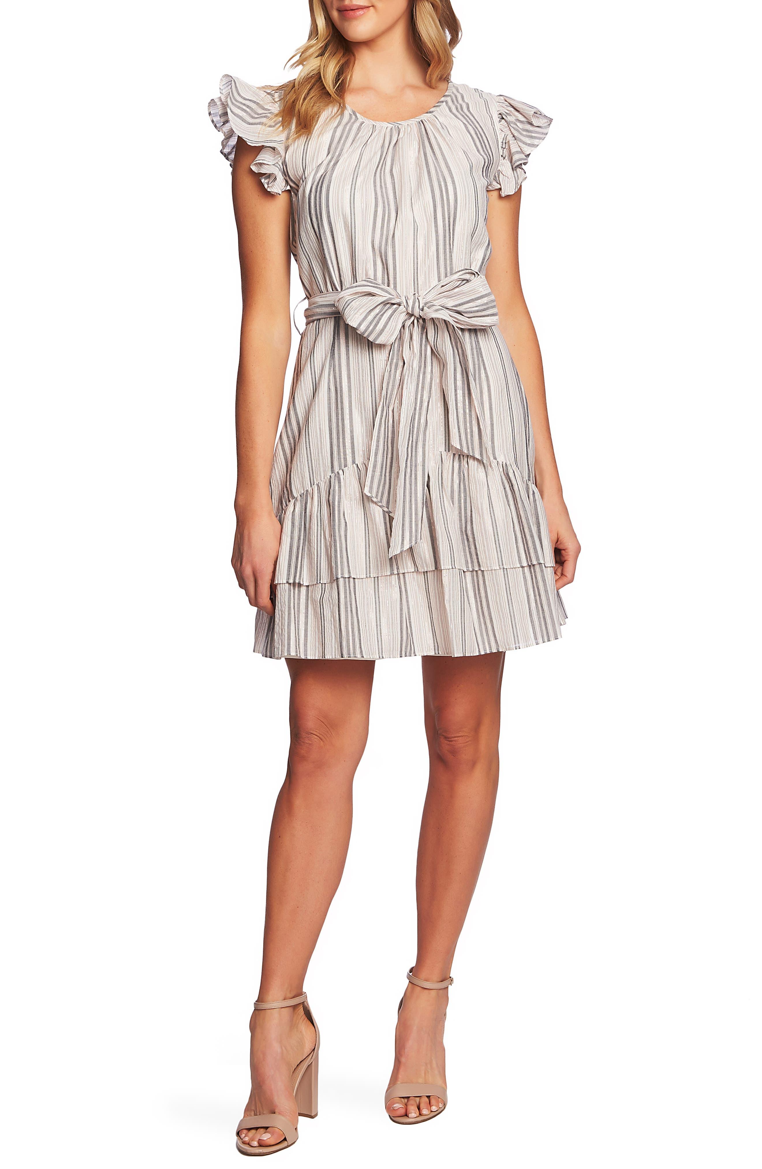 CECE, Ruffle Flutter Sleeve Dress, Main thumbnail 1, color, SOFT ECRU