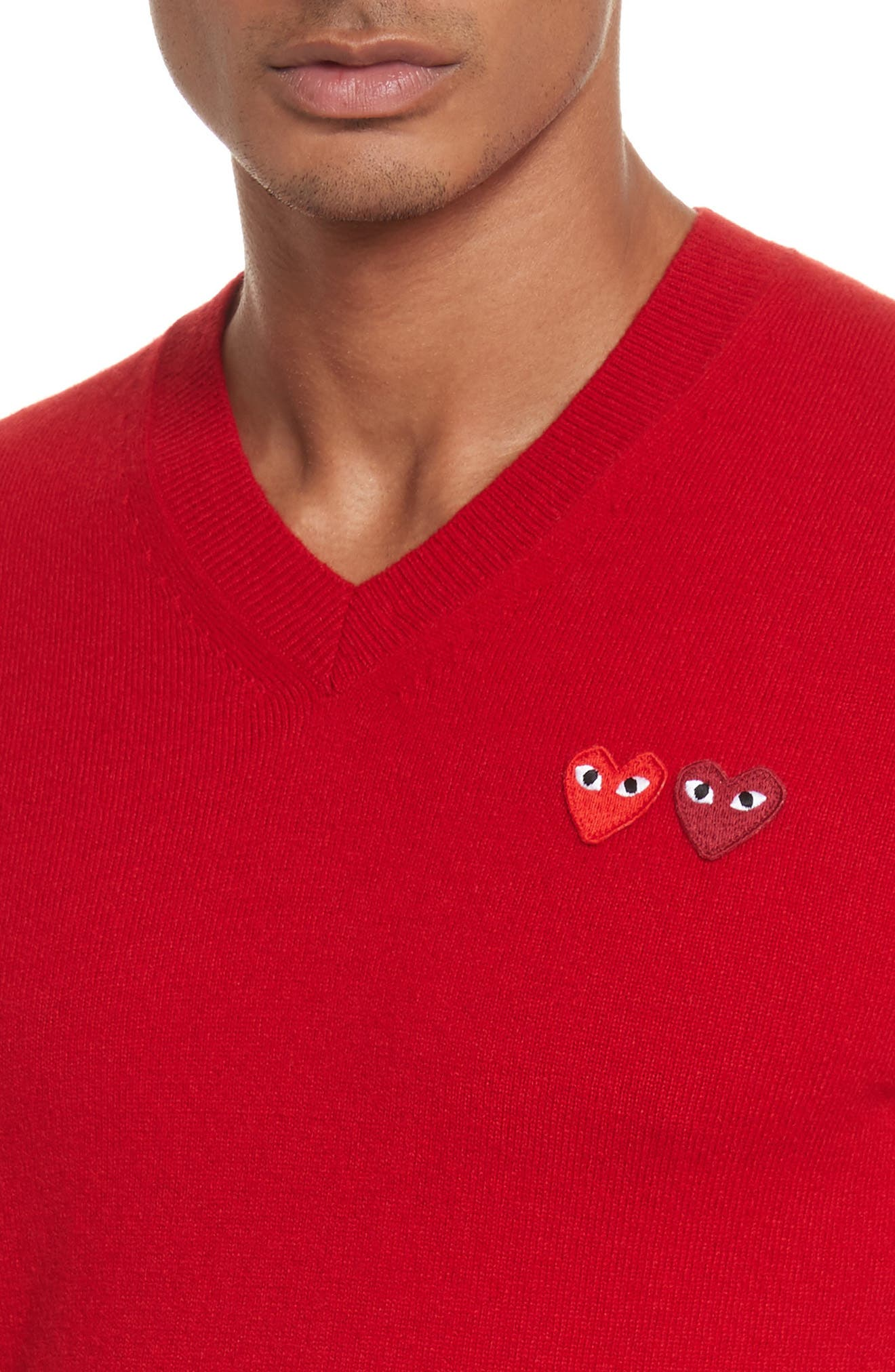 COMME DES GARÇONS PLAY, Wool Pullover, Alternate thumbnail 4, color, RED