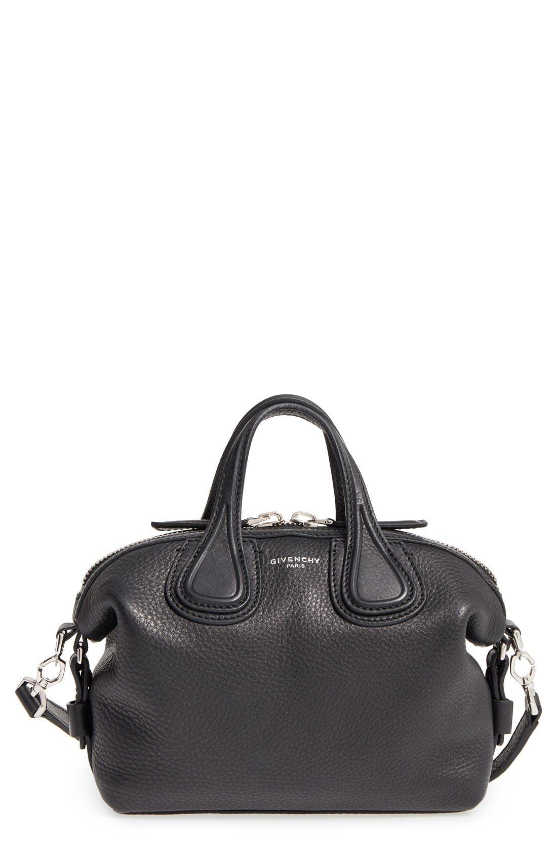 GIVENCHY Micro Nightingale Leather Satchel, Main, color, 001