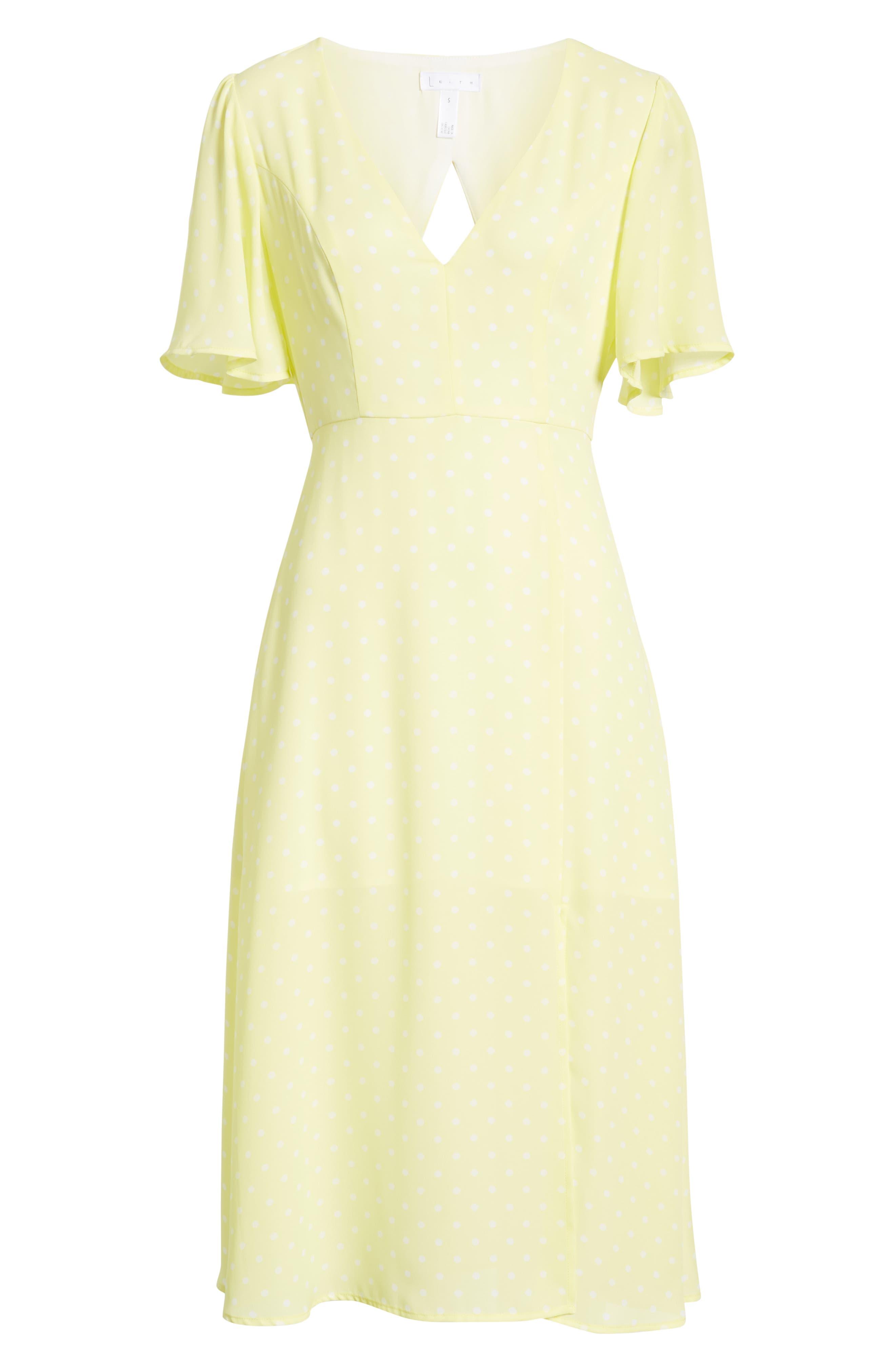 LEITH, Flutter Sleeve Midi Dress, Alternate thumbnail 7, color, YELLOW MERINGUE DOT