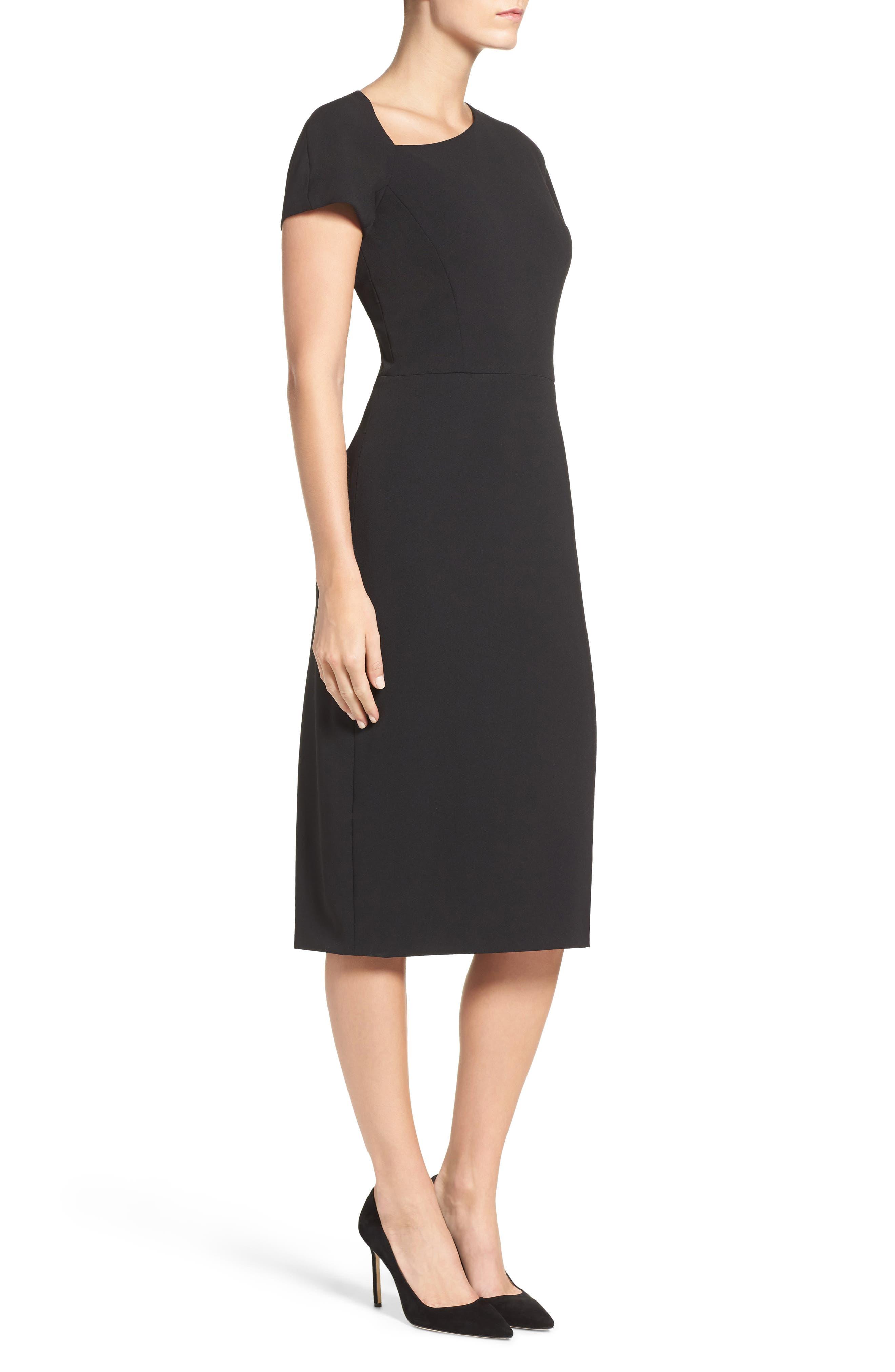 MAGGY LONDON, Asymmetrical Sheath Dress, Alternate thumbnail 4, color, 001