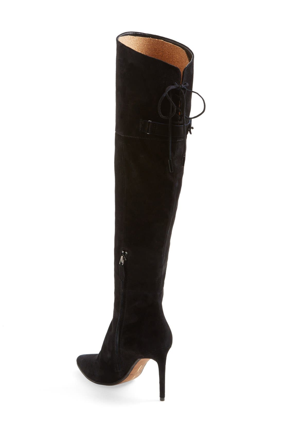 DOLCE VITA, 'Inara' Over the Knee Pointy Toe Suede Boot, Alternate thumbnail 4, color, 001