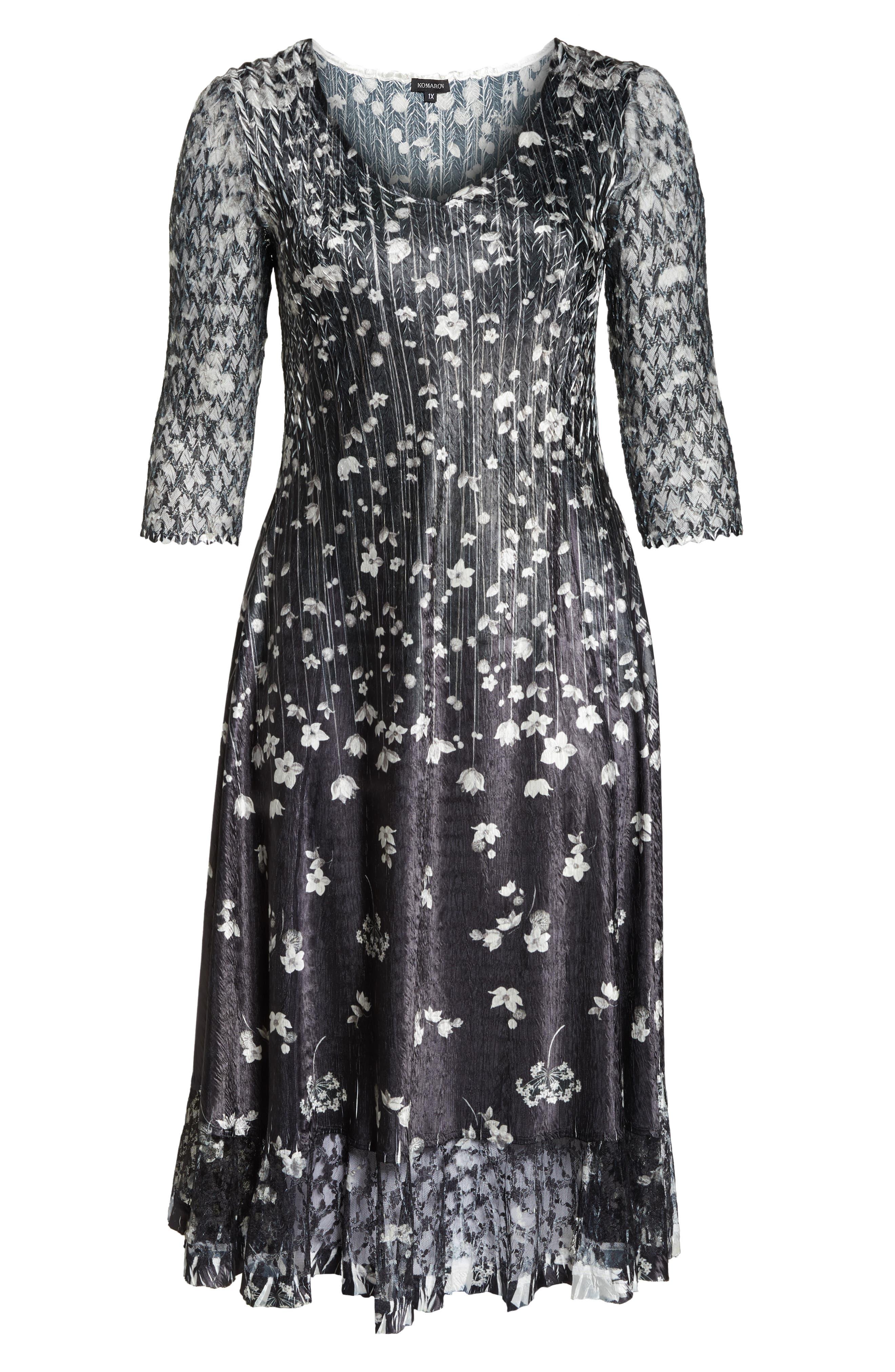 KOMAROV, Floral Print A-Line Dress, Alternate thumbnail 7, color, BLACK MEADOW