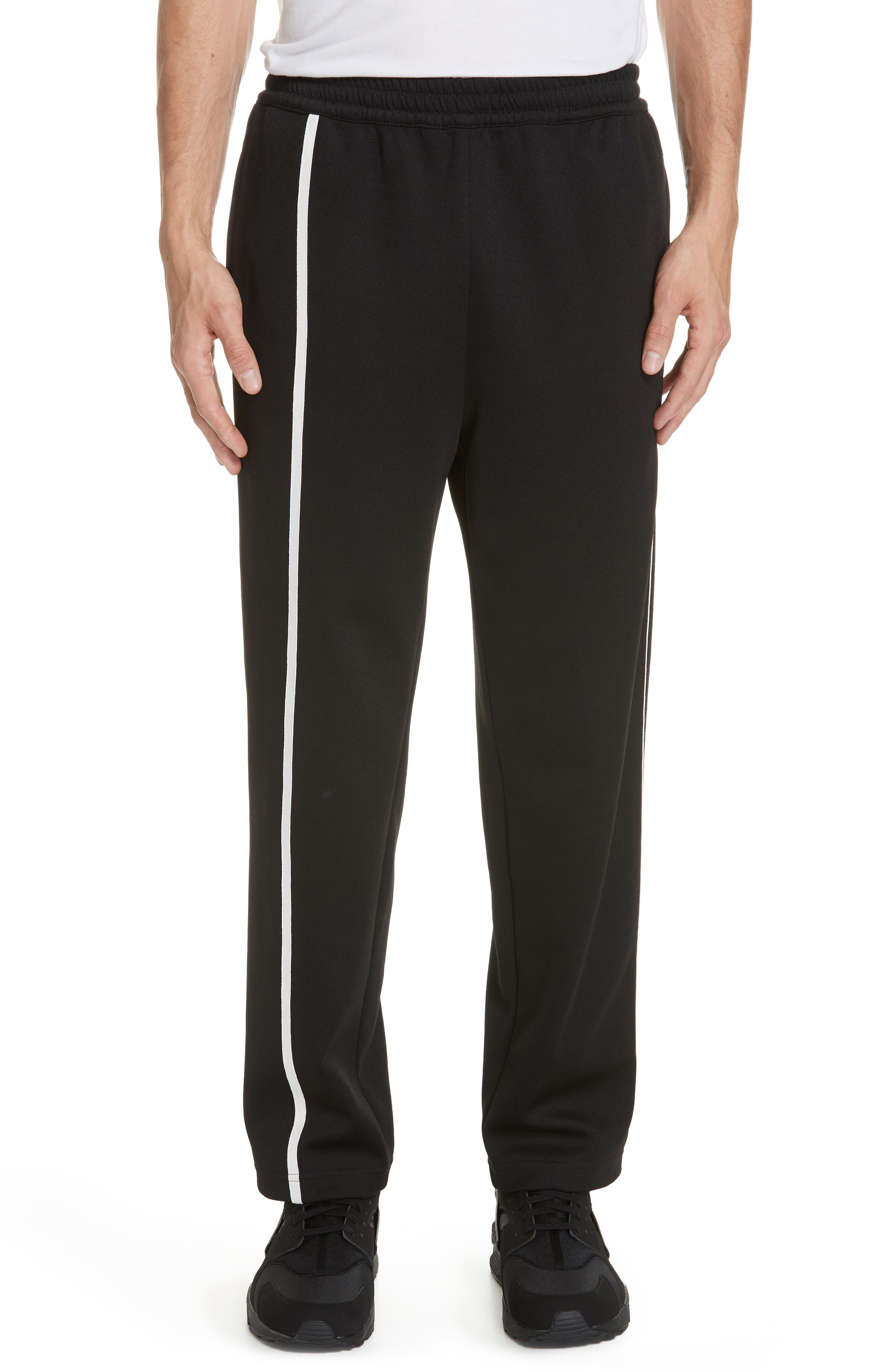HELMUT LANG, Sport Stripe Sweatpants, Main thumbnail 1, color, BLACK AND WHITE